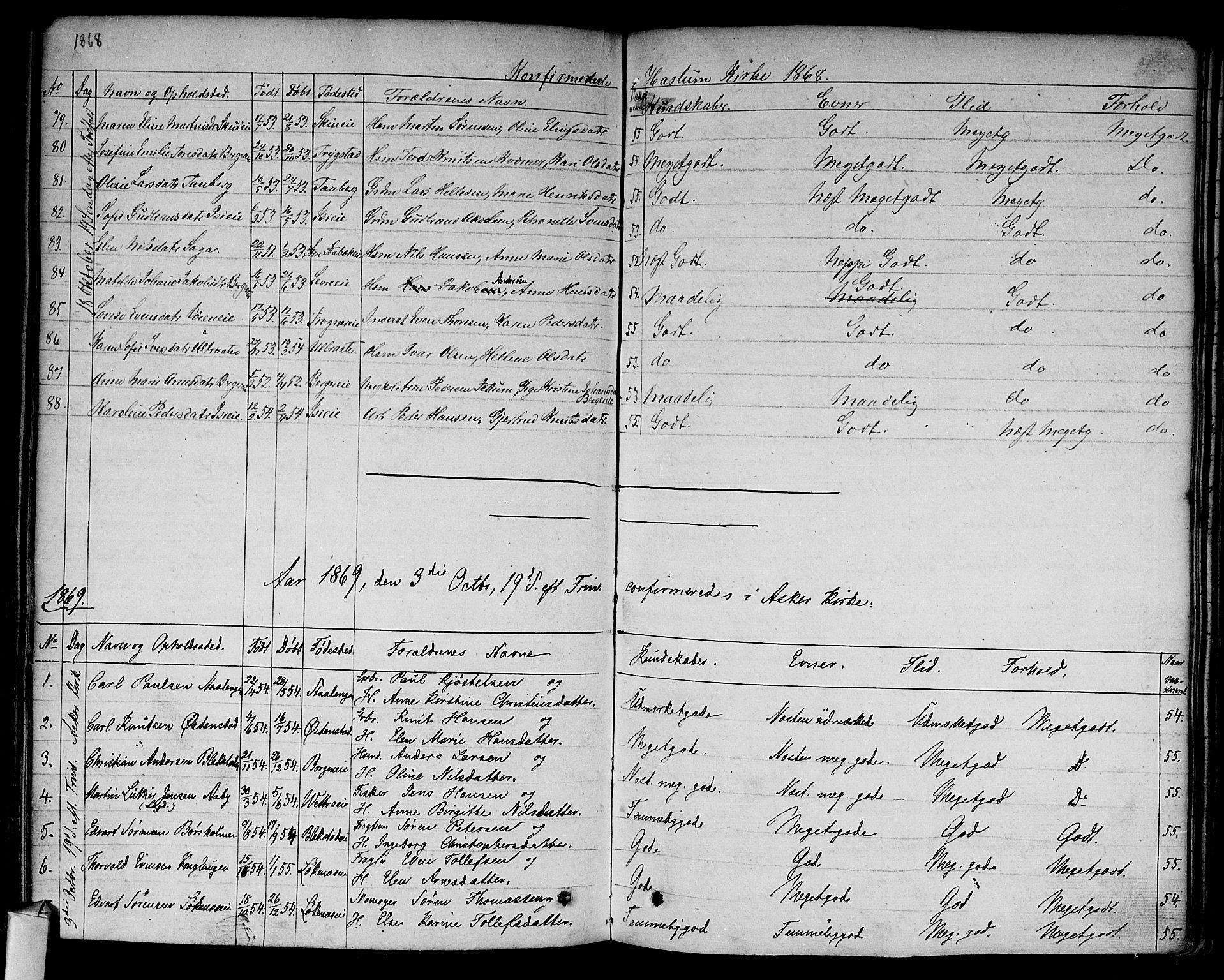 SAO, Asker prestekontor Kirkebøker, F/Fa/L0009: Ministerialbok nr. I 9, 1825-1878, s. 257