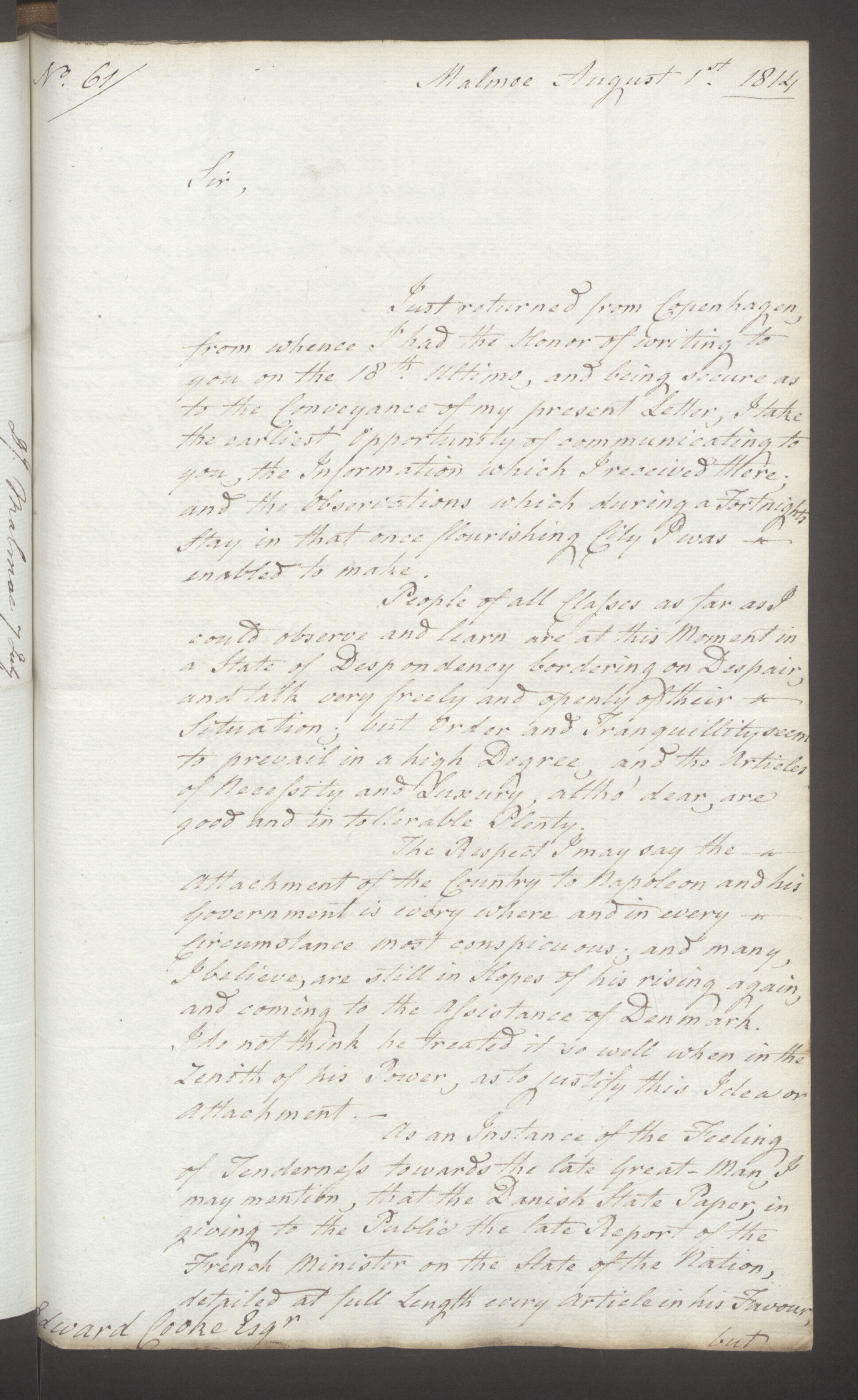 UKA, Foreign Office*, FO 38/16: Sir C. Gordon. Reports from Malmö, Jonkoping, and Helsingborg, 1814, s. 75
