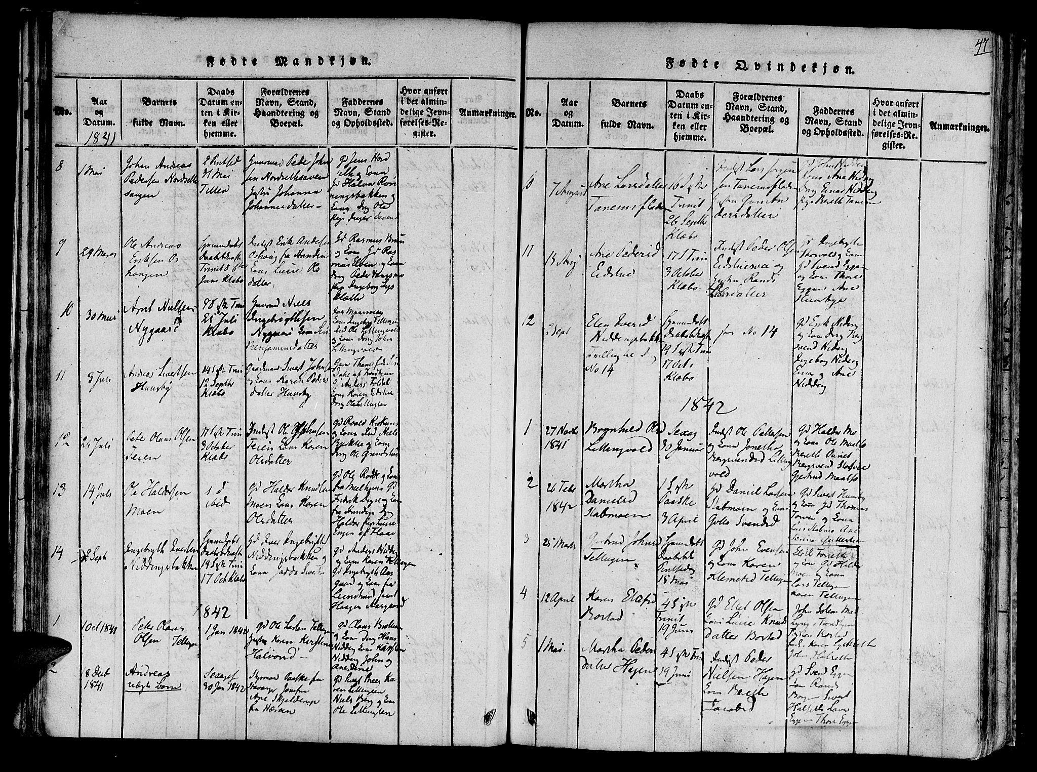 SAT, Ministerialprotokoller, klokkerbøker og fødselsregistre - Sør-Trøndelag, 618/L0439: Ministerialbok nr. 618A04 /1, 1816-1843, s. 47