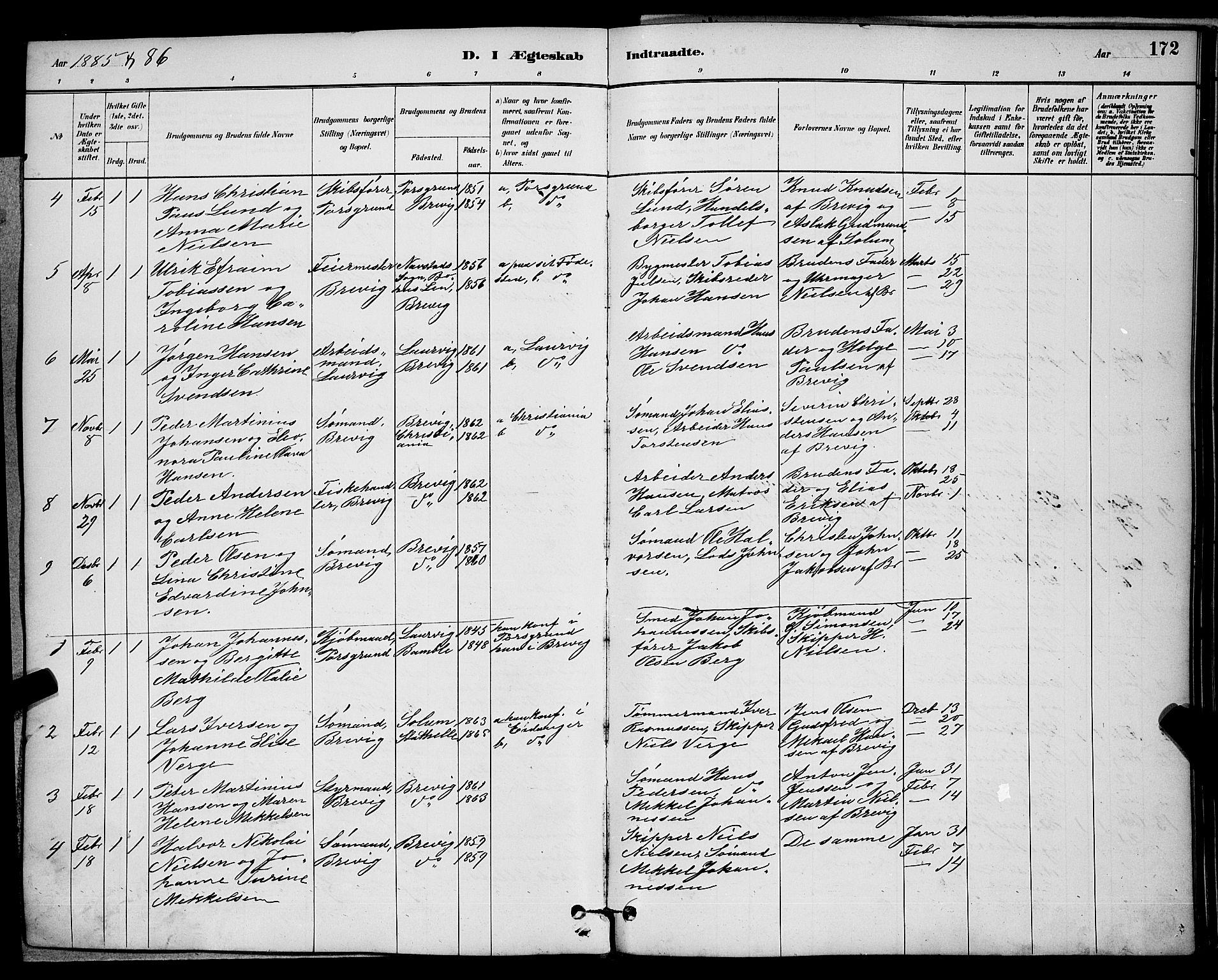 SAKO, Brevik kirkebøker, G/Ga/L0004: Klokkerbok nr. 4, 1882-1900, s. 172