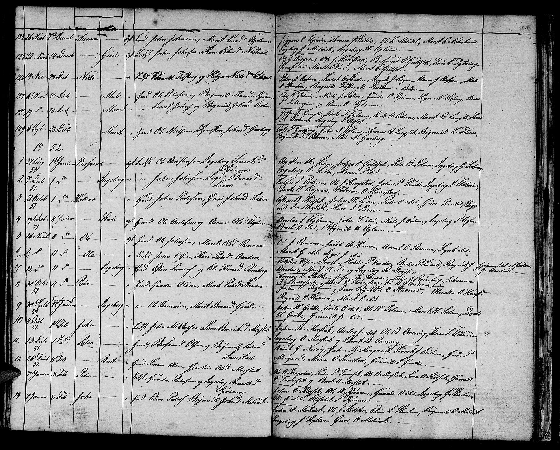 SAT, Ministerialprotokoller, klokkerbøker og fødselsregistre - Sør-Trøndelag, 695/L1154: Klokkerbok nr. 695C05, 1842-1858, s. 181