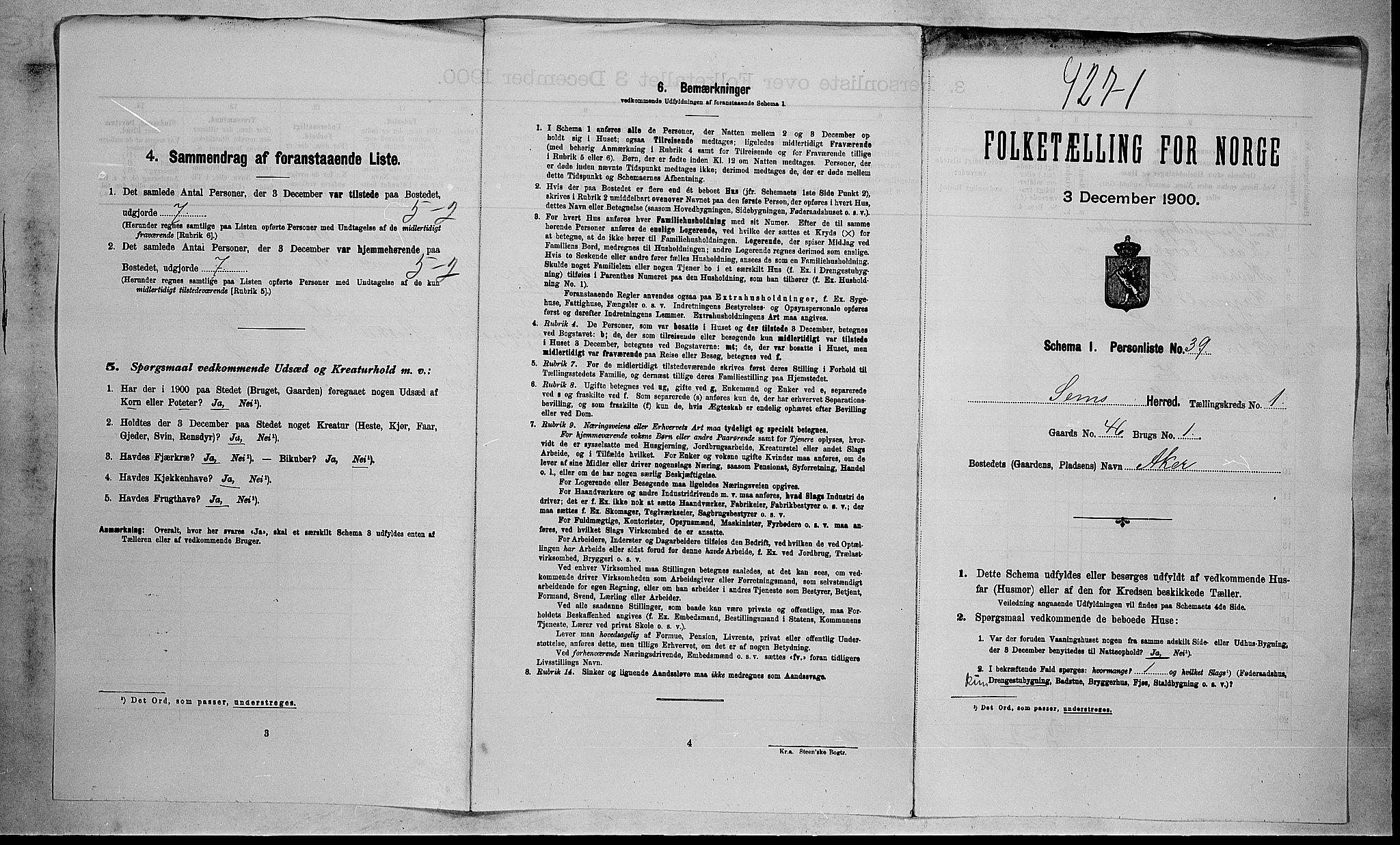 RA, Folketelling 1900 for 0721 Sem herred, 1900, s. 230