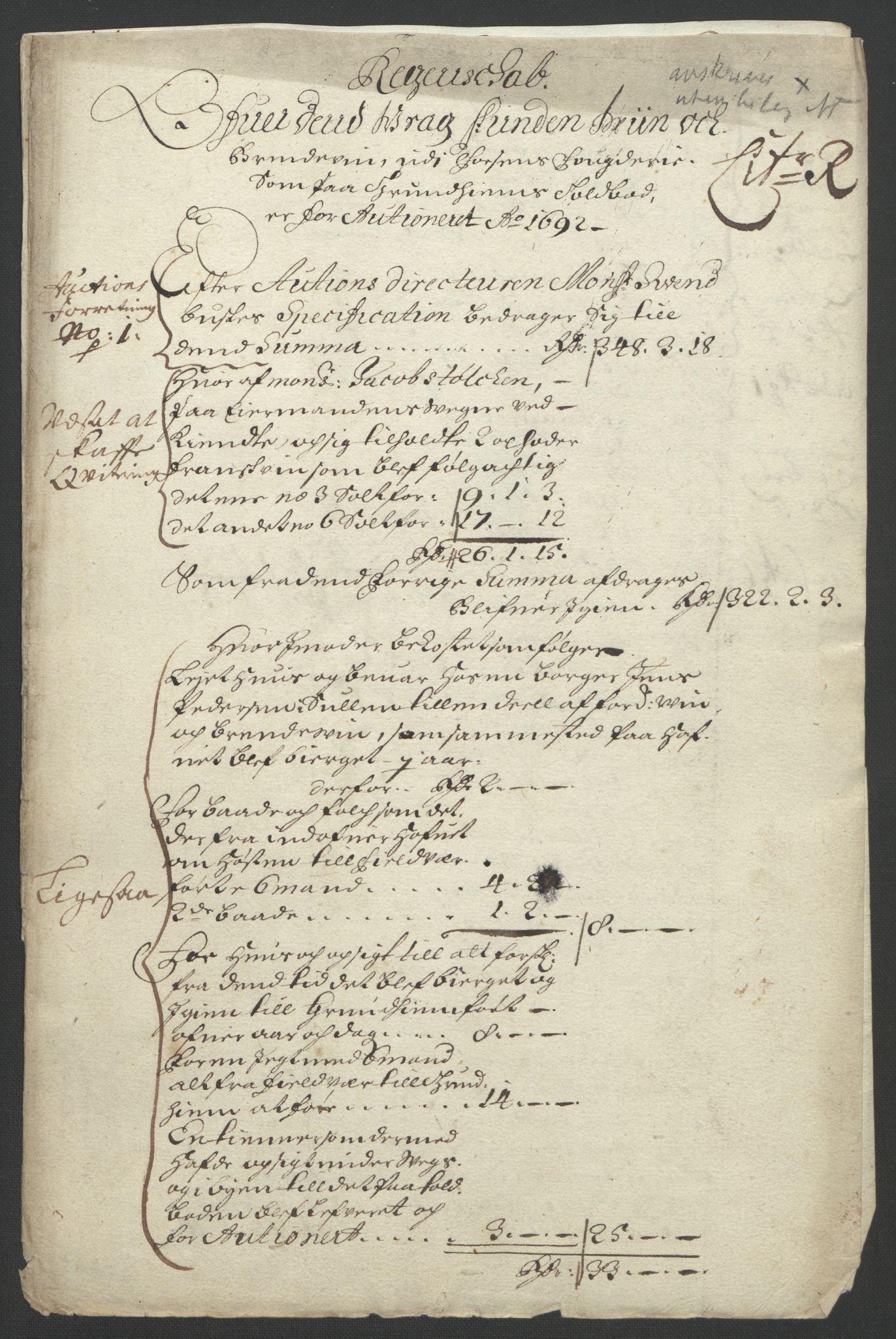 RA, Rentekammeret inntil 1814, Reviderte regnskaper, Fogderegnskap, R57/L3849: Fogderegnskap Fosen, 1692-1693, s. 228