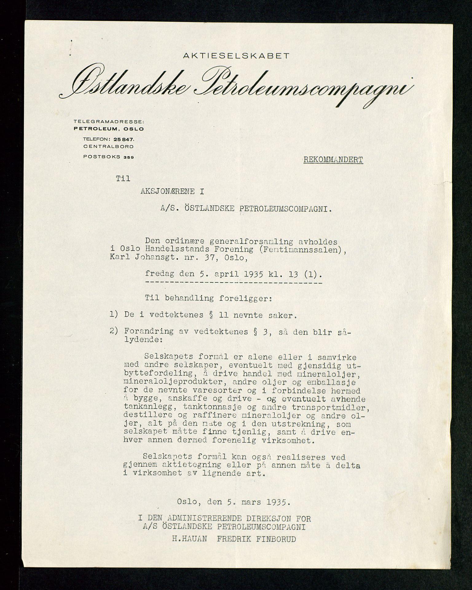 SAST, PA 1534 - Østlandske Petroleumscompagni A/S, A/Aa/L0002: Generalforsamlinger., 1935, s. 2
