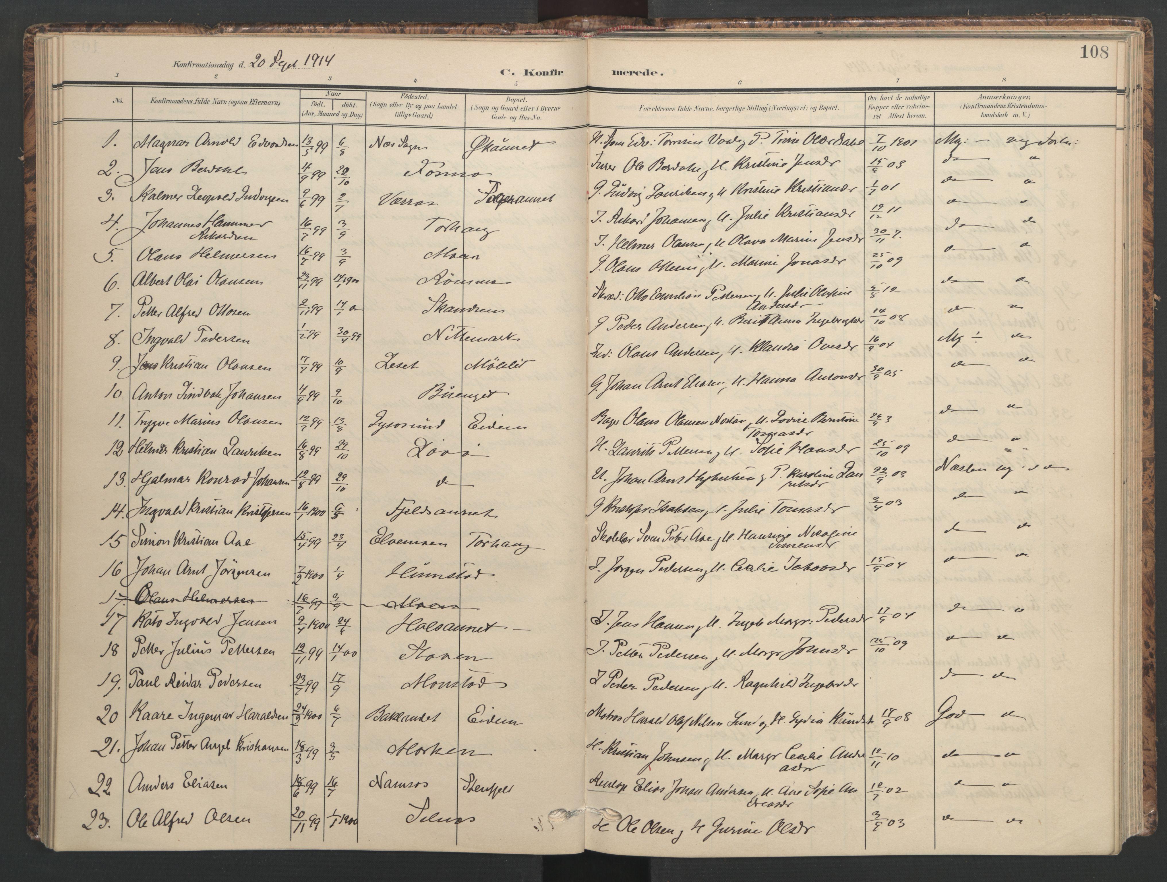 SAT, Ministerialprotokoller, klokkerbøker og fødselsregistre - Sør-Trøndelag, 655/L0682: Ministerialbok nr. 655A11, 1908-1922, s. 108