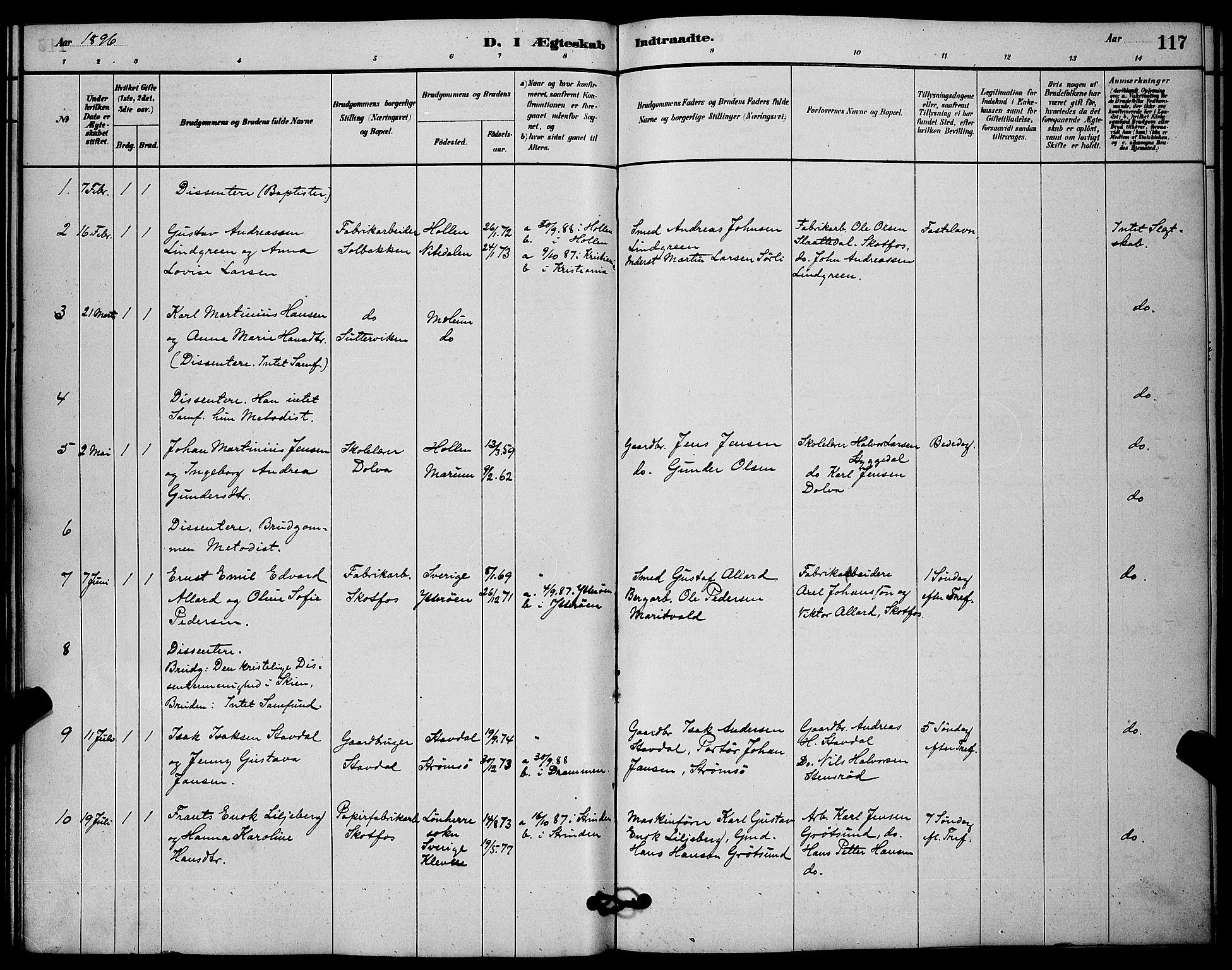 SAKO, Solum kirkebøker, G/Gb/L0003: Klokkerbok nr. II 3, 1880-1898, s. 117