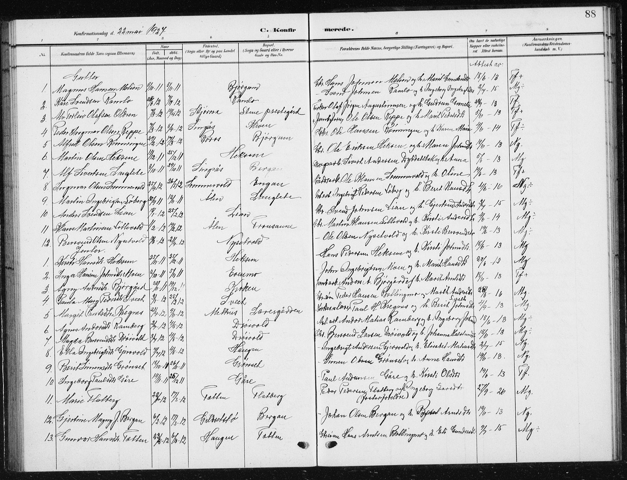 SAT, Ministerialprotokoller, klokkerbøker og fødselsregistre - Sør-Trøndelag, 685/L0979: Klokkerbok nr. 685C04, 1908-1933, s. 88