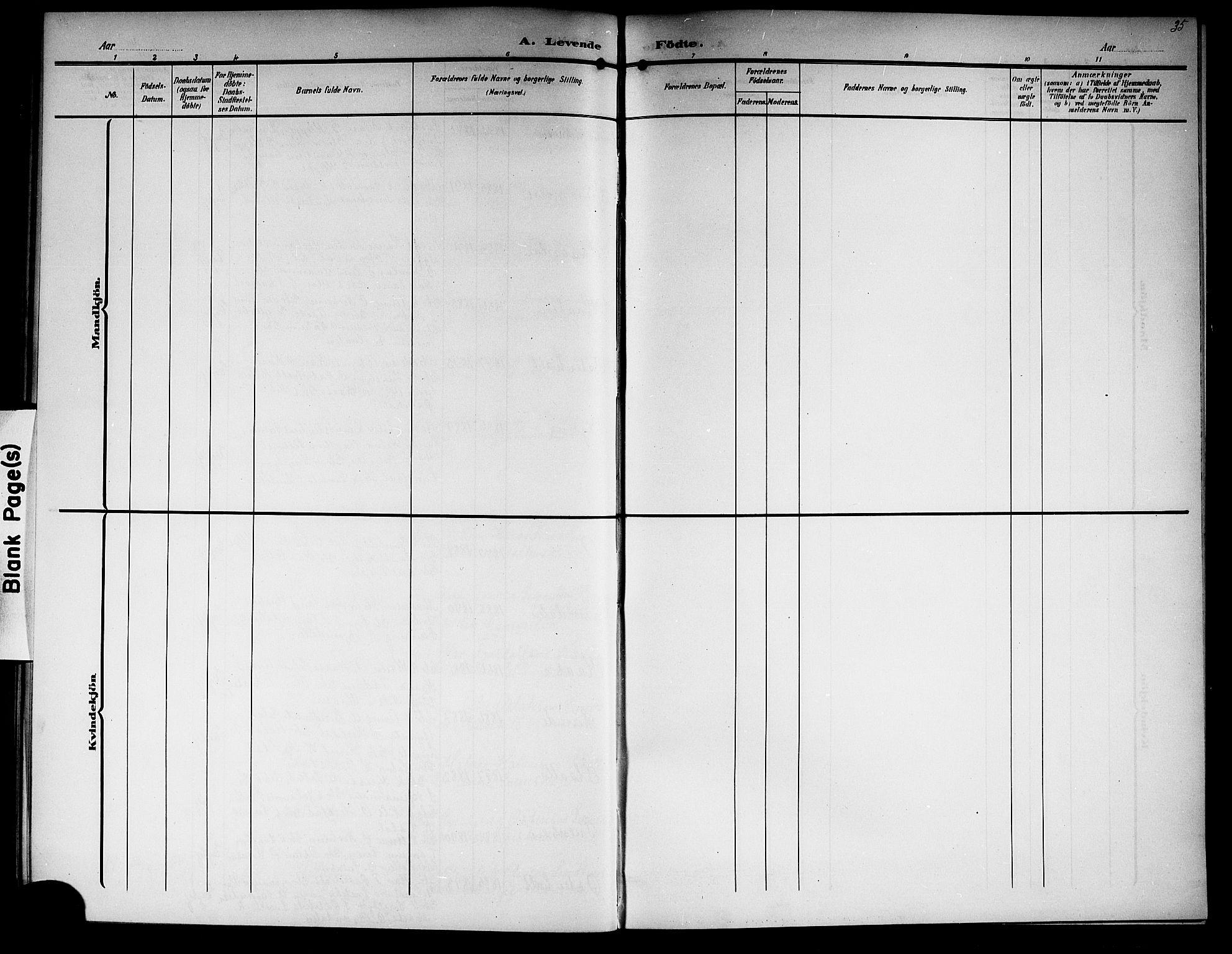 SAKO, Lunde kirkebøker, G/Ga/L0004: Klokkerbok nr. I 4, 1906-1914, s. 35