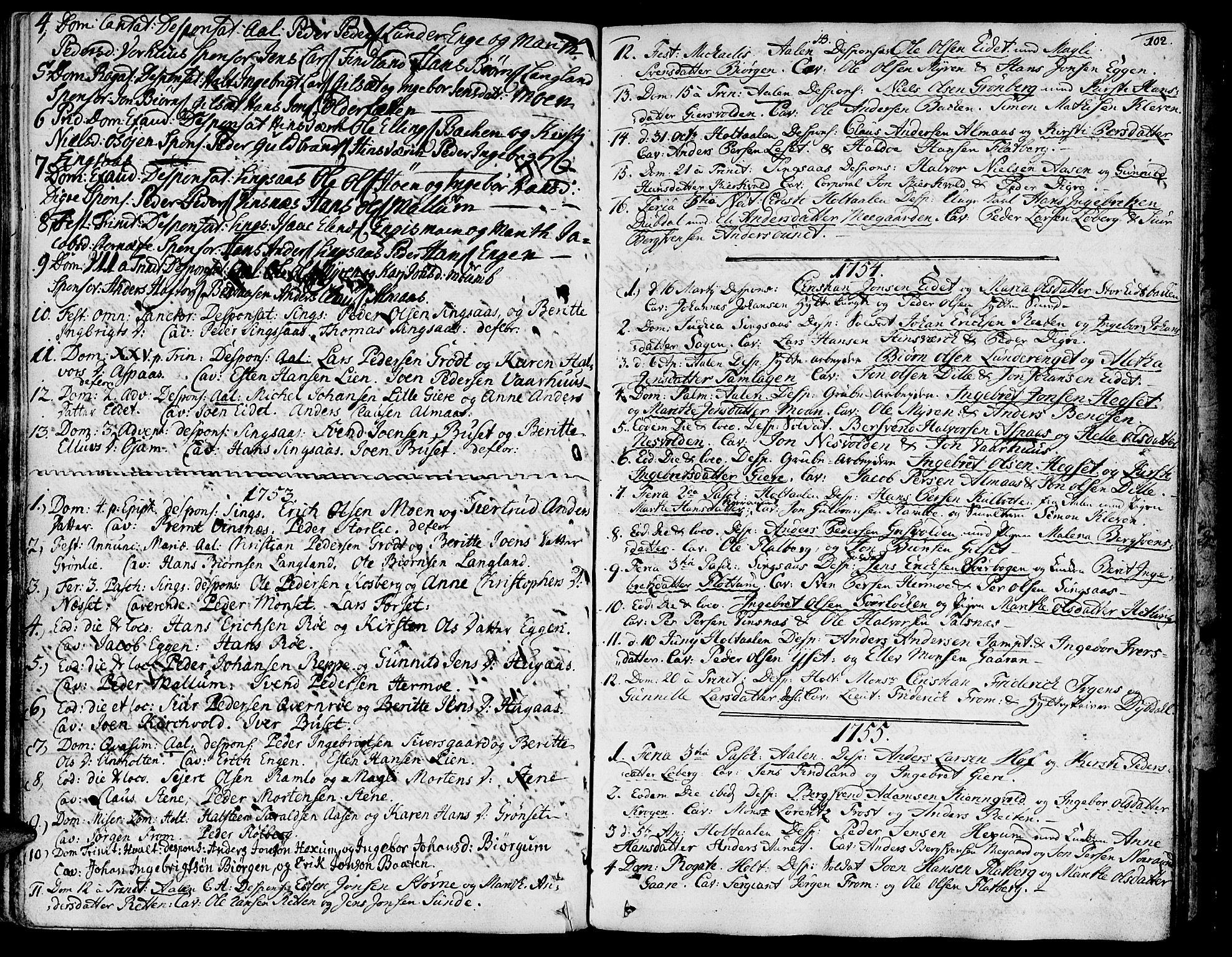 SAT, Ministerialprotokoller, klokkerbøker og fødselsregistre - Sør-Trøndelag, 685/L0952: Ministerialbok nr. 685A01, 1745-1804, s. 102
