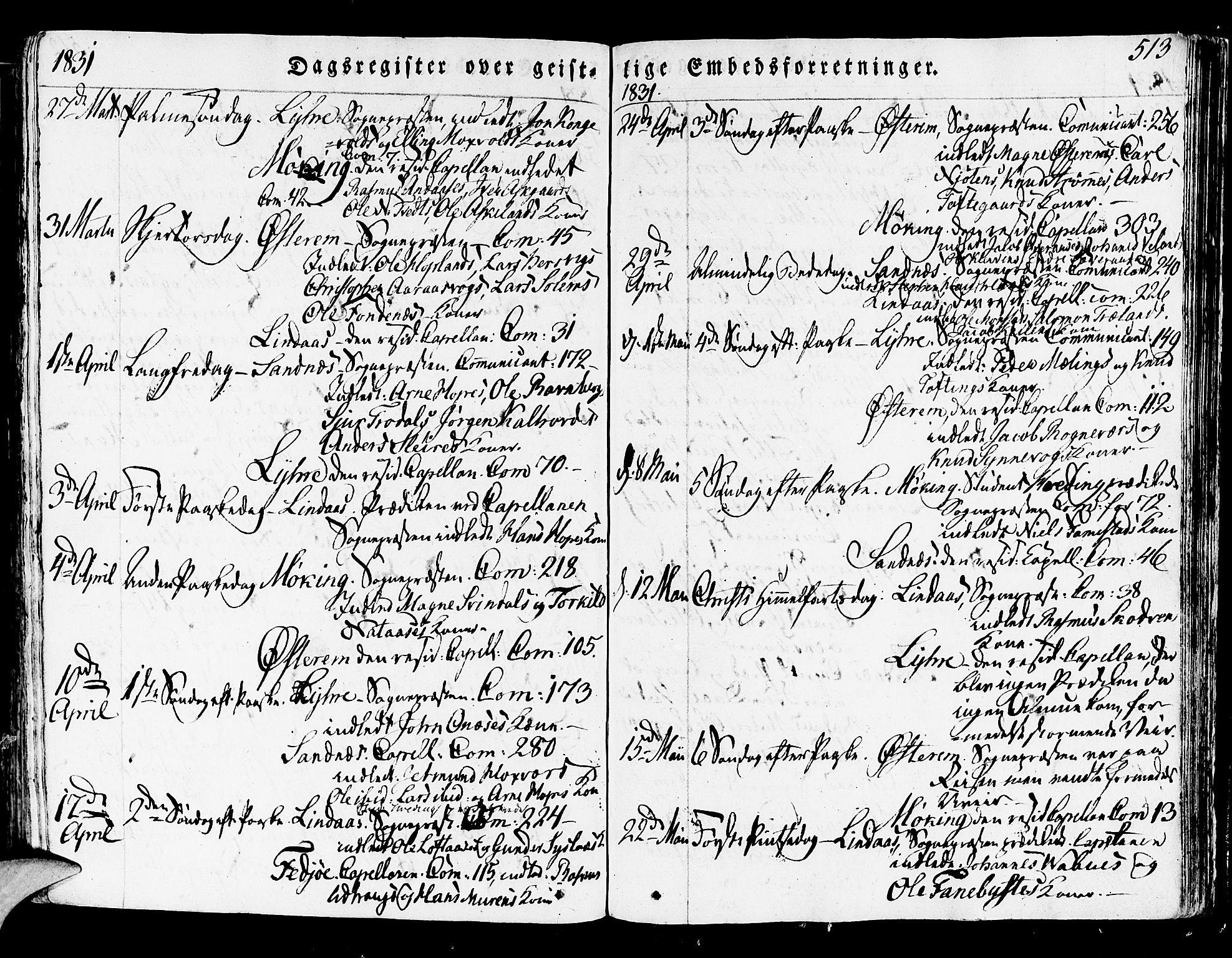 SAB, Lindås Sokneprestembete, H/Haa: Ministerialbok nr. A 8, 1823-1836, s. 513