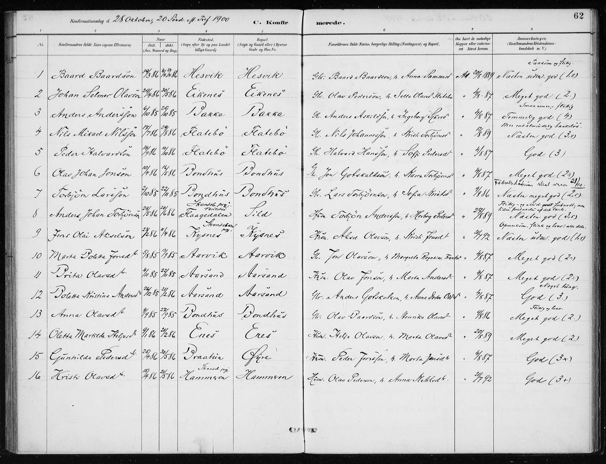 SAB, Kvinnherad Sokneprestembete, H/Haa: Ministerialbok nr. F 1, 1887-1912, s. 62