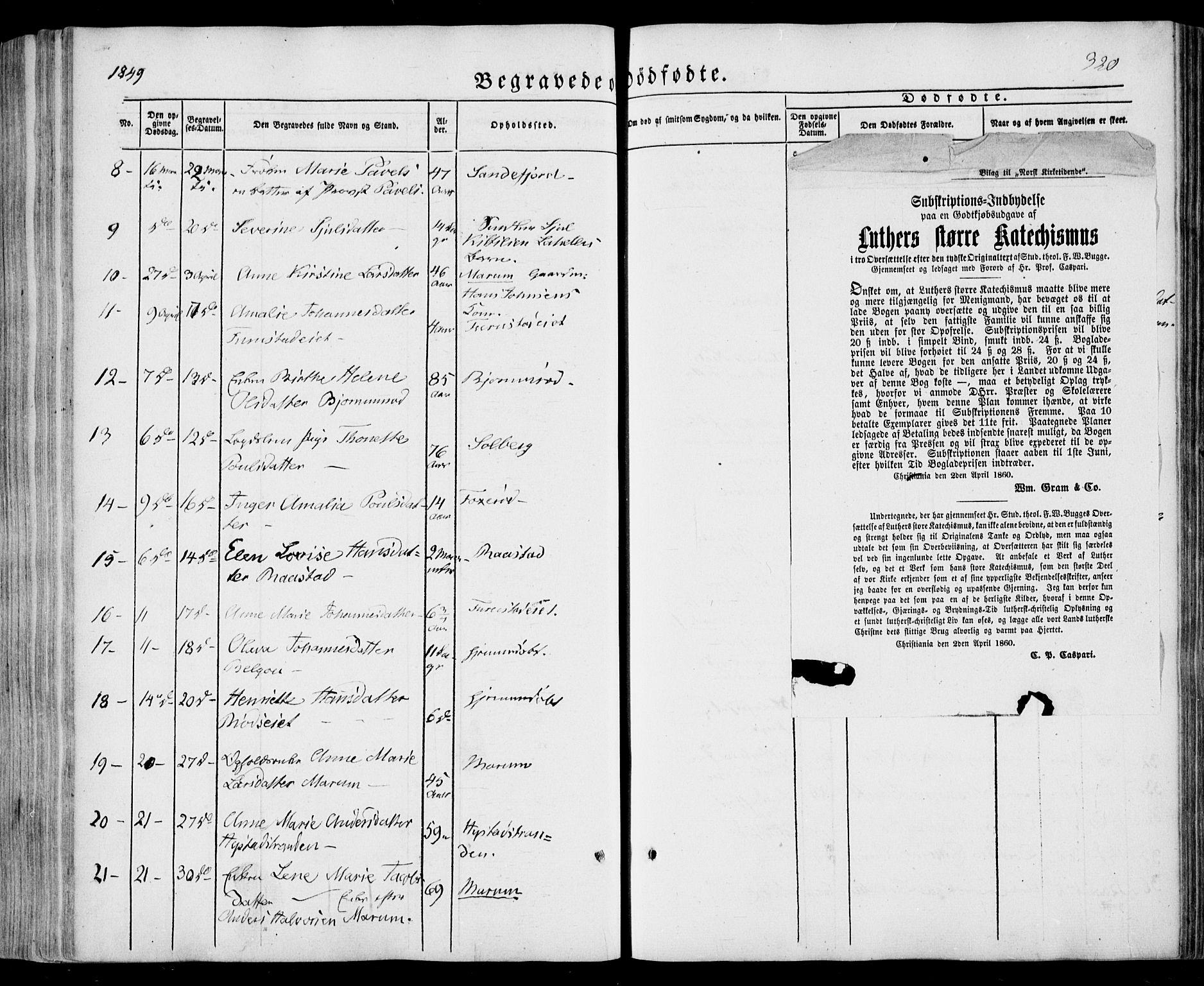 SAKO, Sandar kirkebøker, F/Fa/L0006: Ministerialbok nr. 6, 1847-1860, s. 320