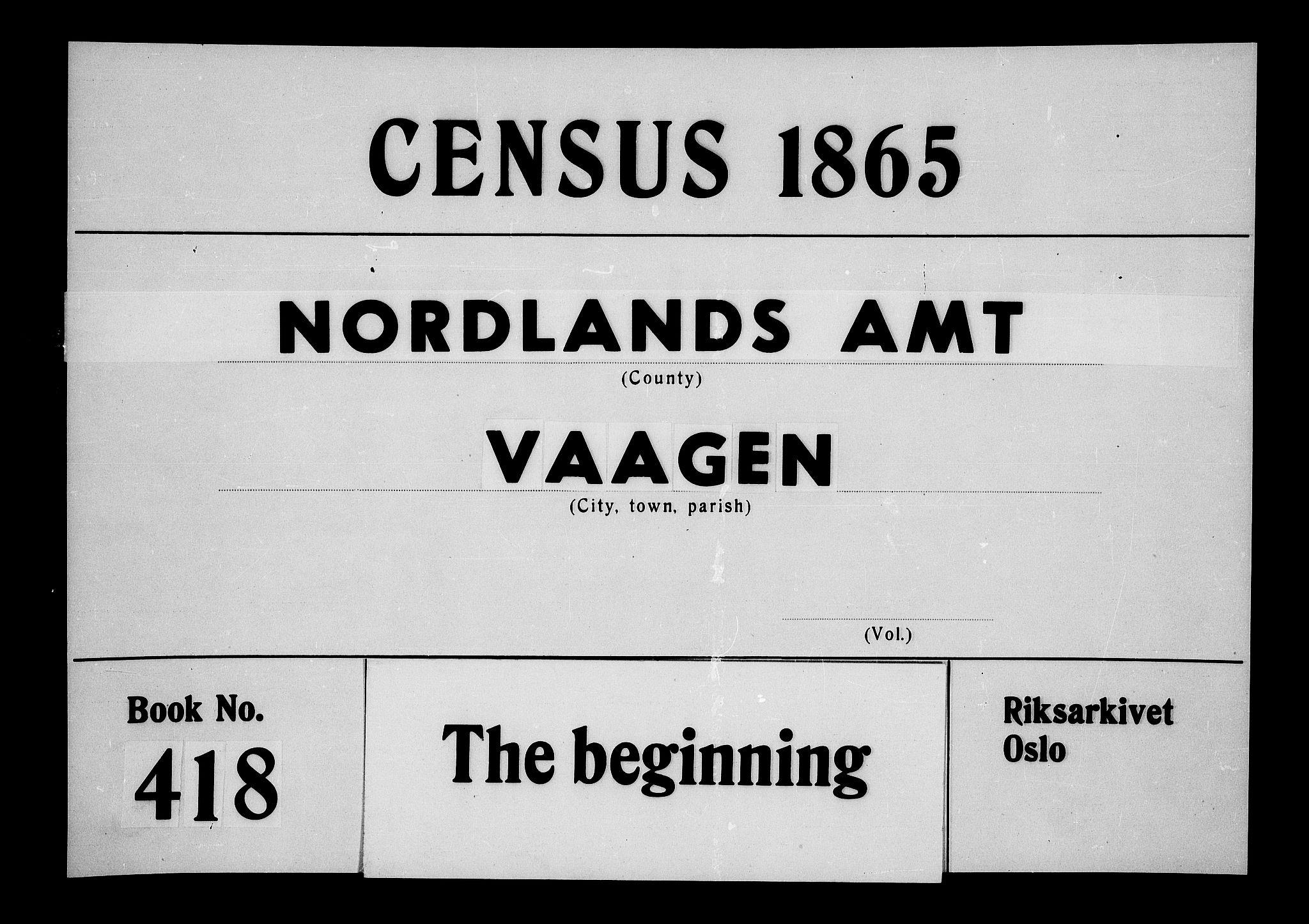 RA, Folketelling 1865 for 1865P Vågan prestegjeld, 1865, s. 1