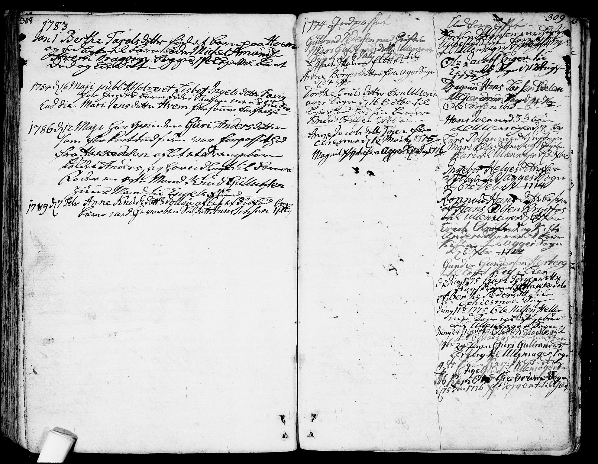 SAO, Nannestad prestekontor Kirkebøker, F/Fa/L0007: Ministerialbok nr. I 7, 1754-1791, s. 308-309