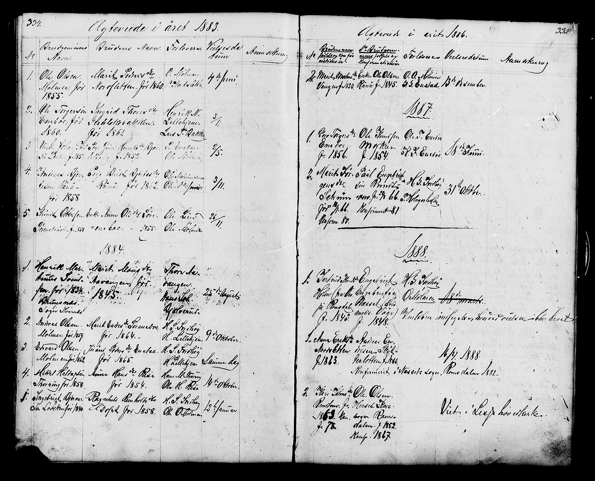 SAH, Lesja prestekontor, Klokkerbok nr. 6, 1871-1904, s. 334-335