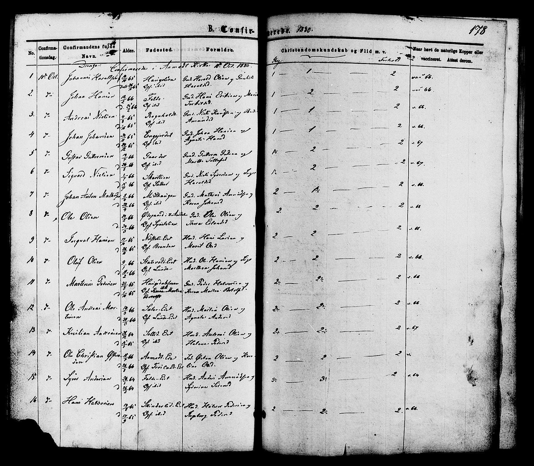 SAH, Nordre Land prestekontor, Ministerialbok nr. 2, 1872-1881, s. 178