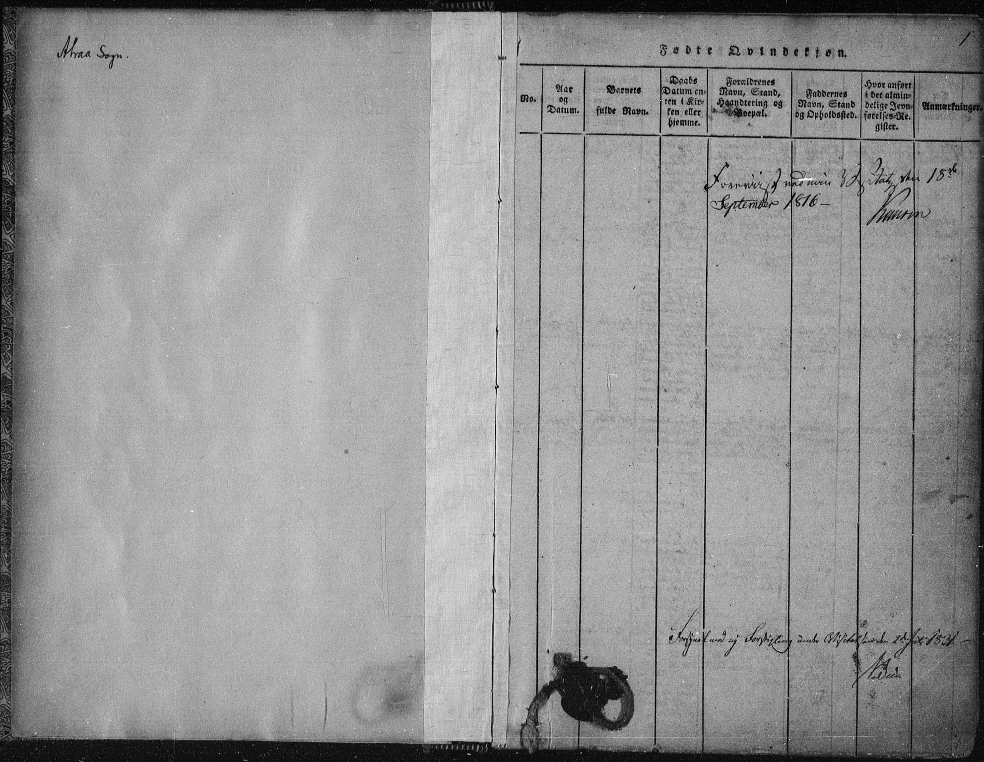 SAKO, Tinn kirkebøker, F/Fa/L0004: Ministerialbok nr. I 4, 1815-1843, s. 1