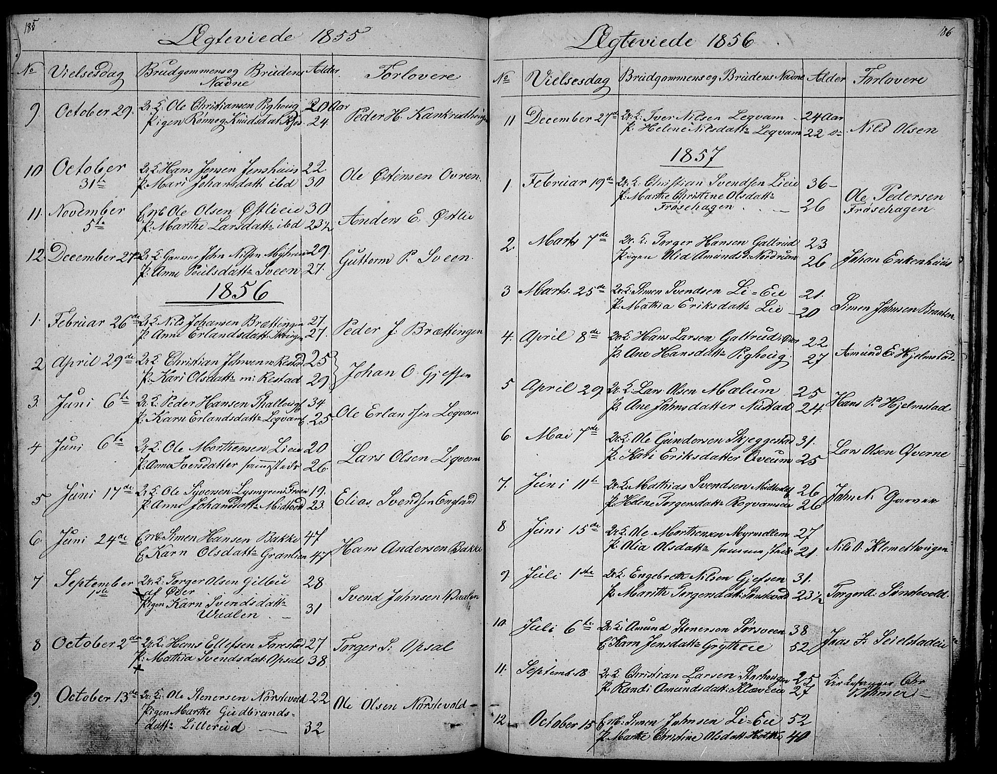 SAH, Gausdal prestekontor, Klokkerbok nr. 3, 1829-1864, s. 185-186