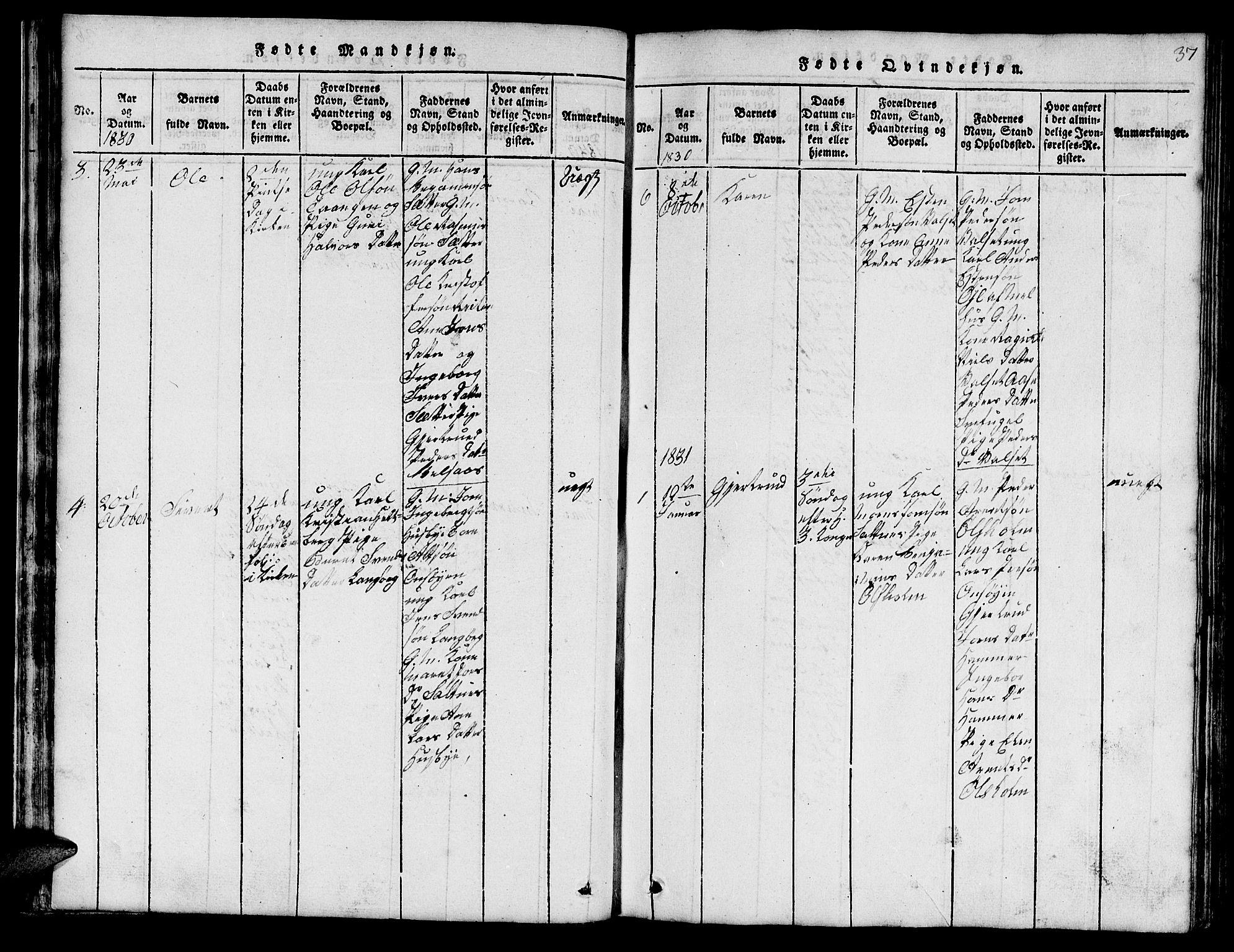 SAT, Ministerialprotokoller, klokkerbøker og fødselsregistre - Sør-Trøndelag, 666/L0788: Klokkerbok nr. 666C01, 1816-1847, s. 37