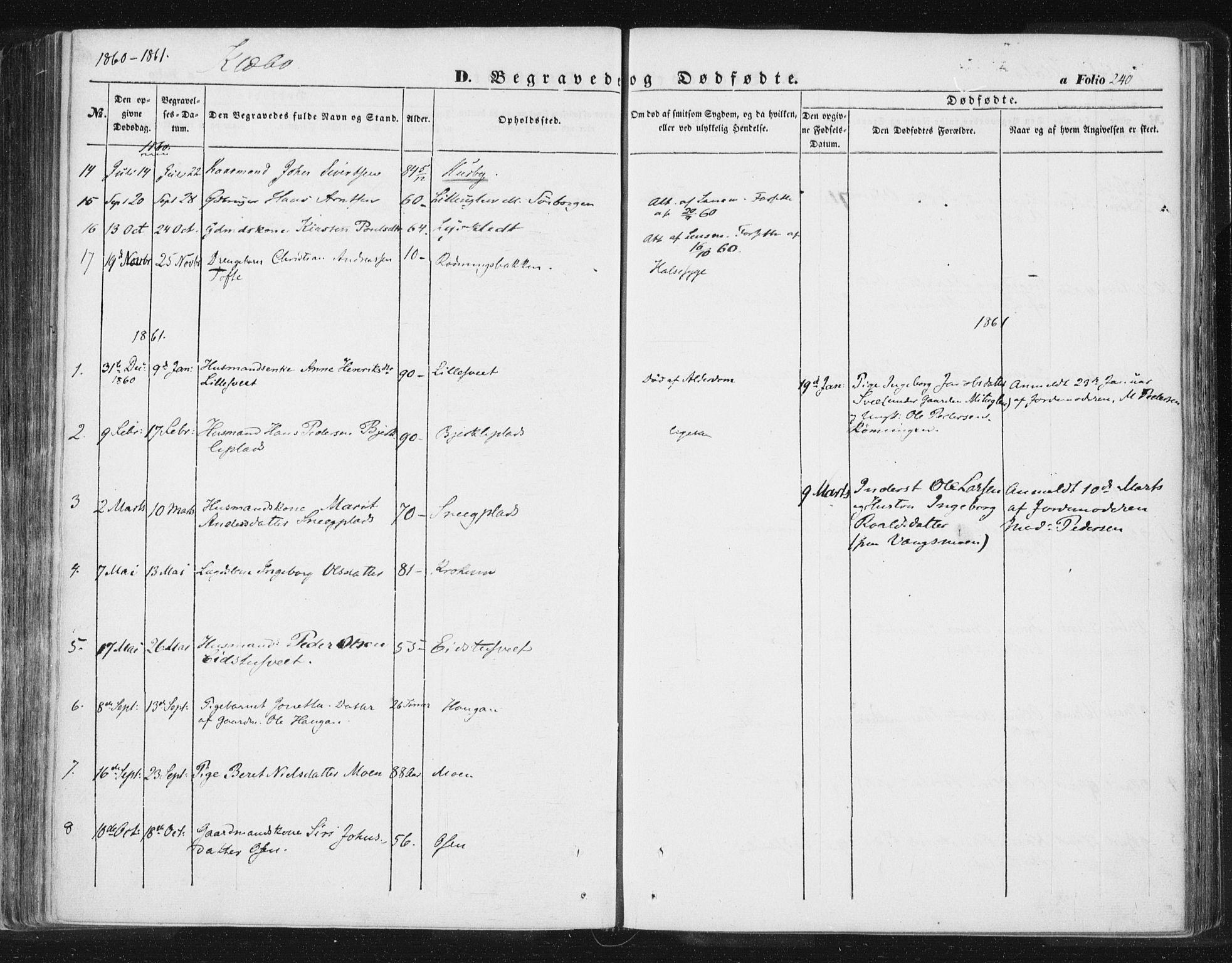 SAT, Ministerialprotokoller, klokkerbøker og fødselsregistre - Sør-Trøndelag, 618/L0441: Ministerialbok nr. 618A05, 1843-1862, s. 240