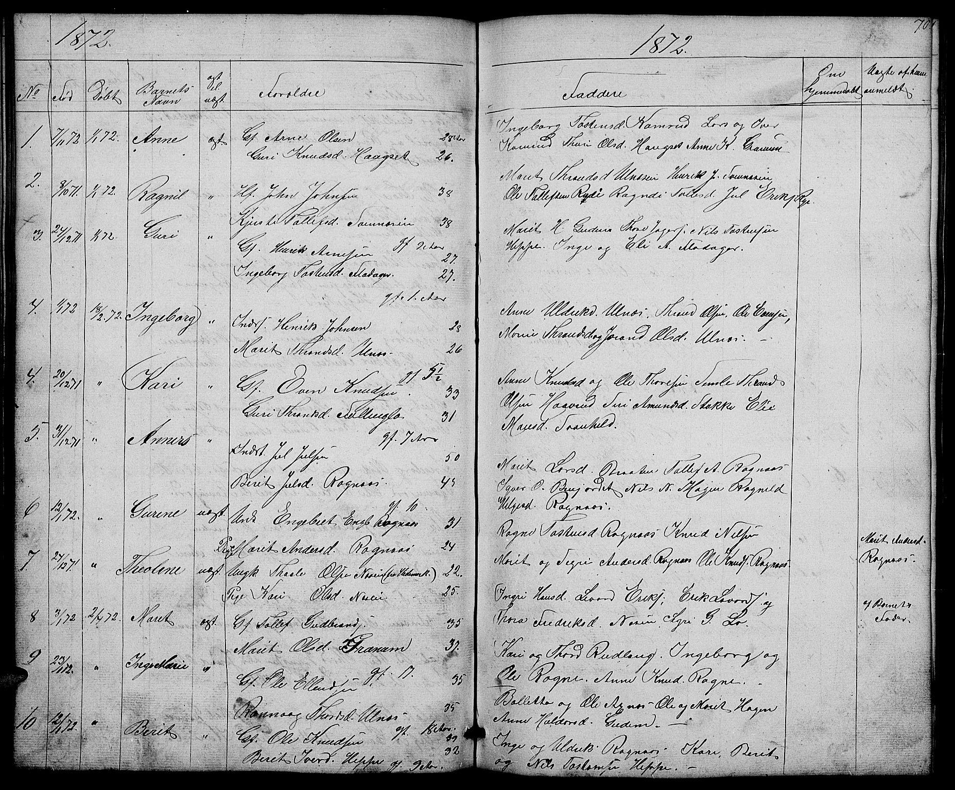 SAH, Nord-Aurdal prestekontor, Klokkerbok nr. 4, 1842-1882, s. 70