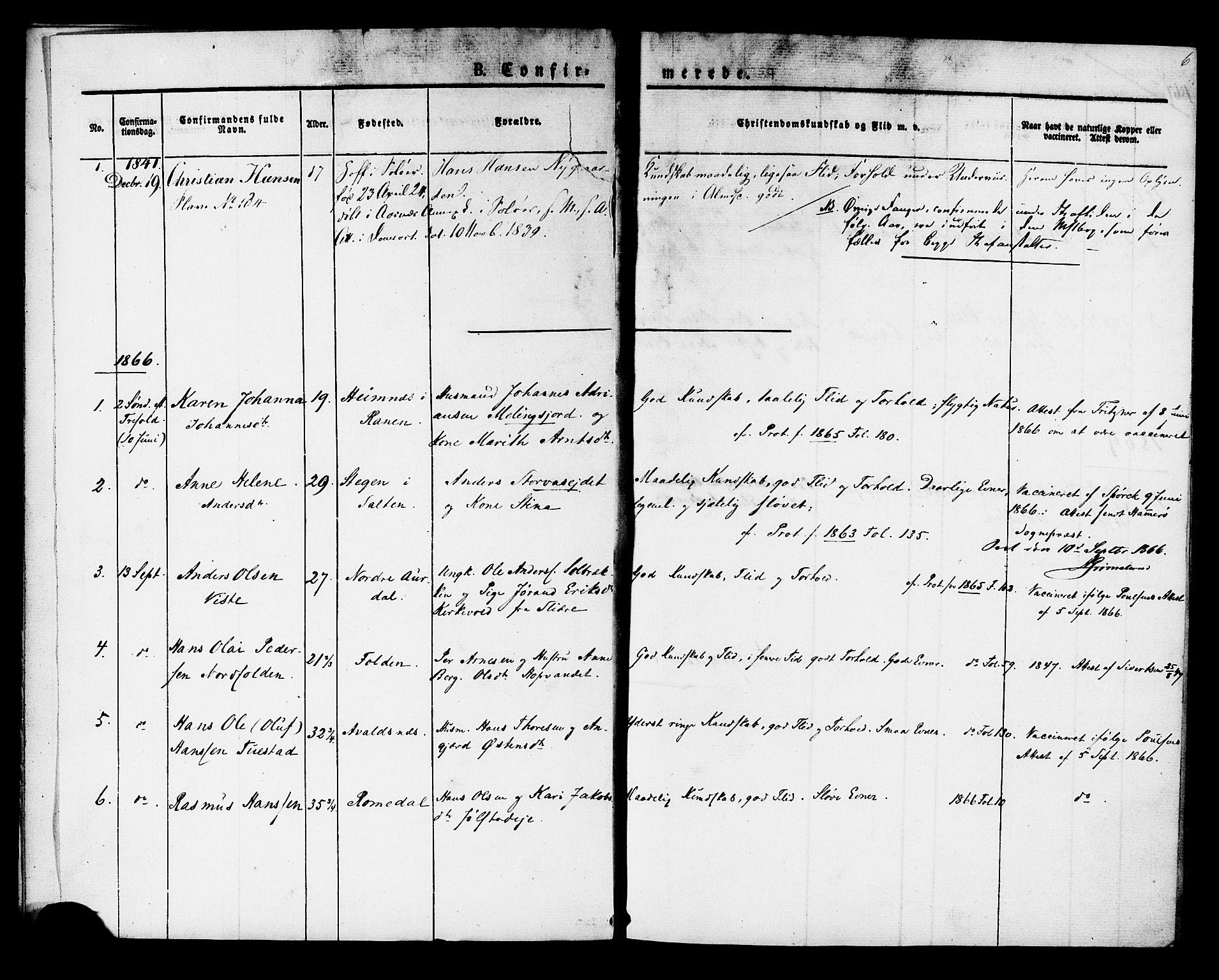 SAT, Ministerialprotokoller, klokkerbøker og fødselsregistre - Sør-Trøndelag, 624/L0481: Ministerialbok nr. 624A02, 1841-1869, s. 6