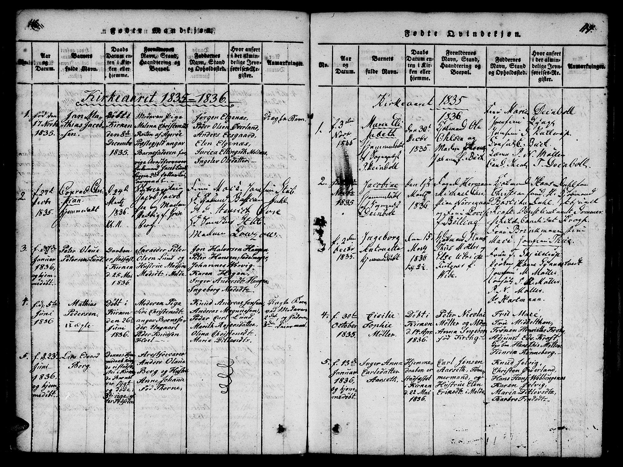 SAT, Ministerialprotokoller, klokkerbøker og fødselsregistre - Møre og Romsdal, 558/L0688: Ministerialbok nr. 558A02, 1818-1843, s. 116-117