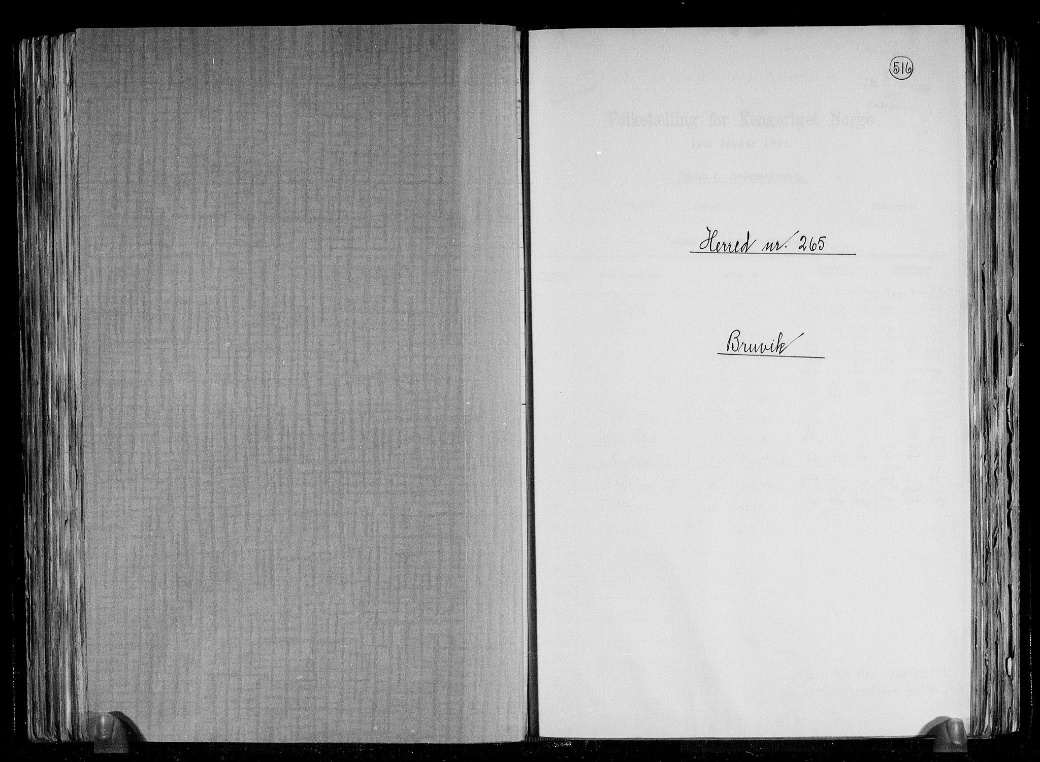 RA, Folketelling 1891 for 1251 Bruvik herred, 1891, s. 1