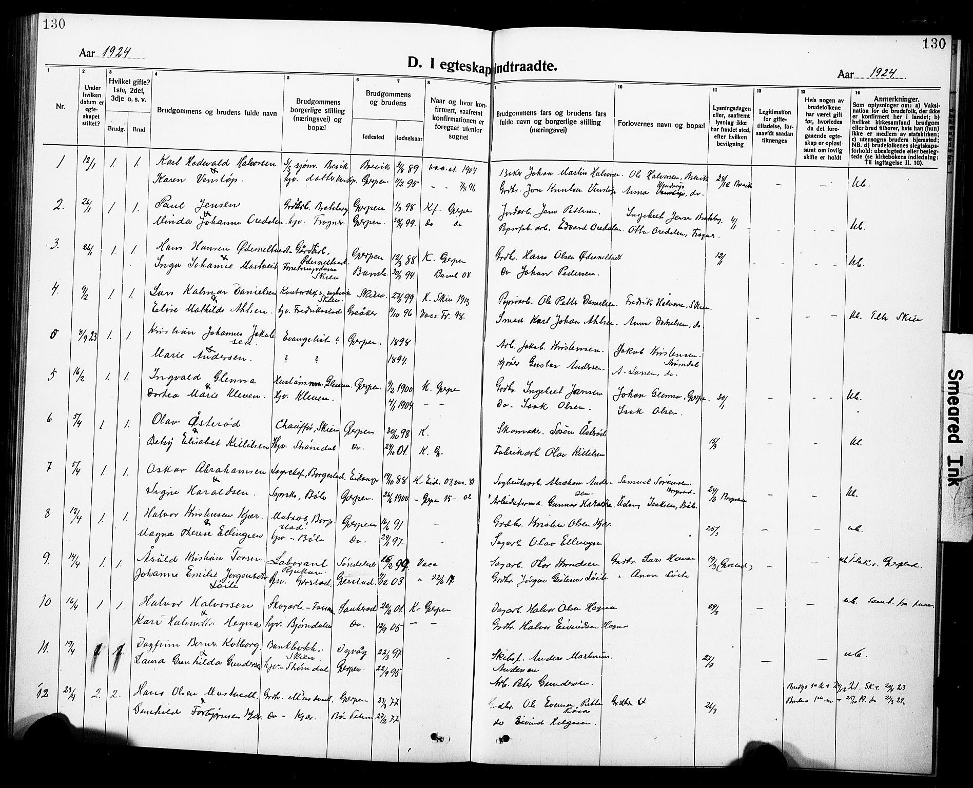 SAKO, Gjerpen kirkebøker, G/Ga/L0004: Klokkerbok nr. I 4, 1920-1931, s. 130