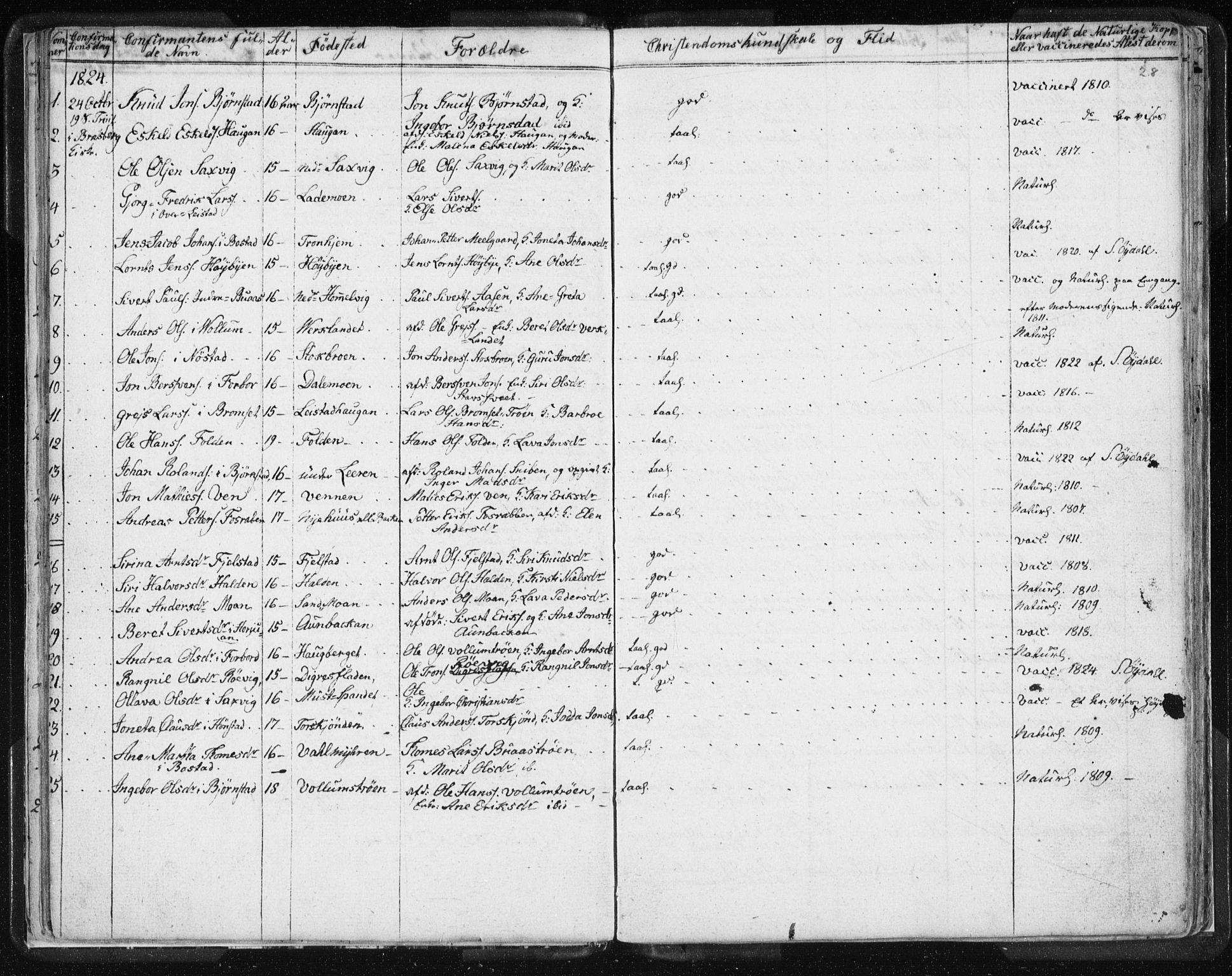 SAT, Ministerialprotokoller, klokkerbøker og fødselsregistre - Sør-Trøndelag, 616/L0404: Ministerialbok nr. 616A01, 1823-1831, s. 28