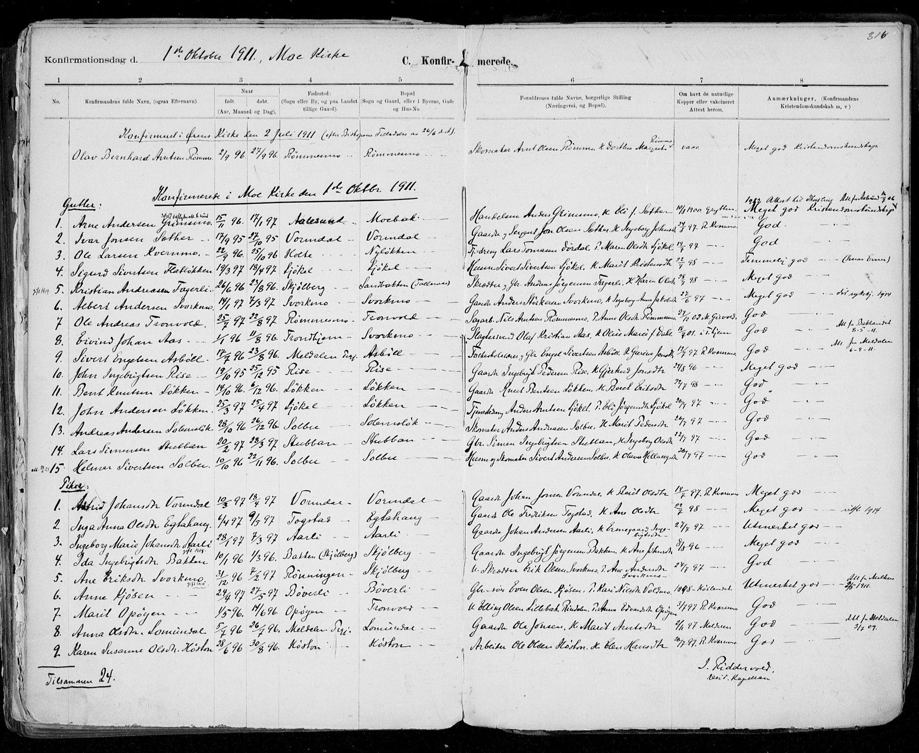 SAT, Ministerialprotokoller, klokkerbøker og fødselsregistre - Sør-Trøndelag, 668/L0811: Ministerialbok nr. 668A11, 1894-1913, s. 316