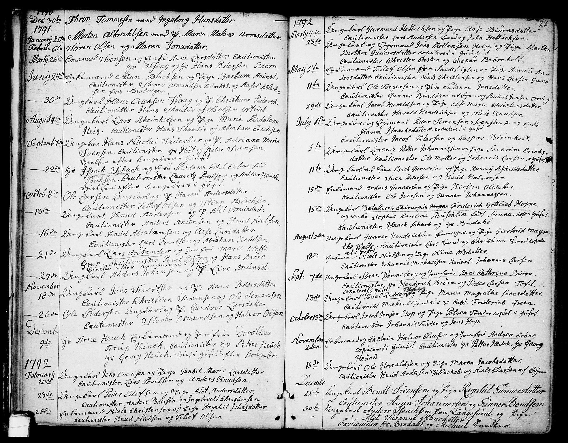 SAKO, Kragerø kirkebøker, F/Fa/L0002: Ministerialbok nr. 2, 1767-1802, s. 23