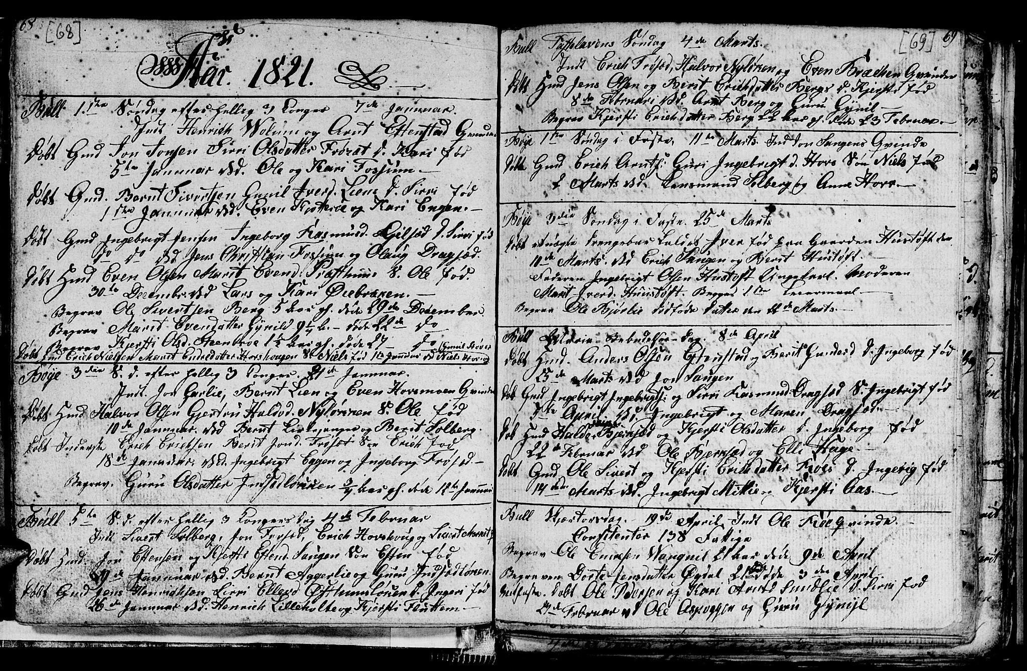 SAT, Ministerialprotokoller, klokkerbøker og fødselsregistre - Sør-Trøndelag, 689/L1042: Klokkerbok nr. 689C01, 1812-1841, s. 68-69