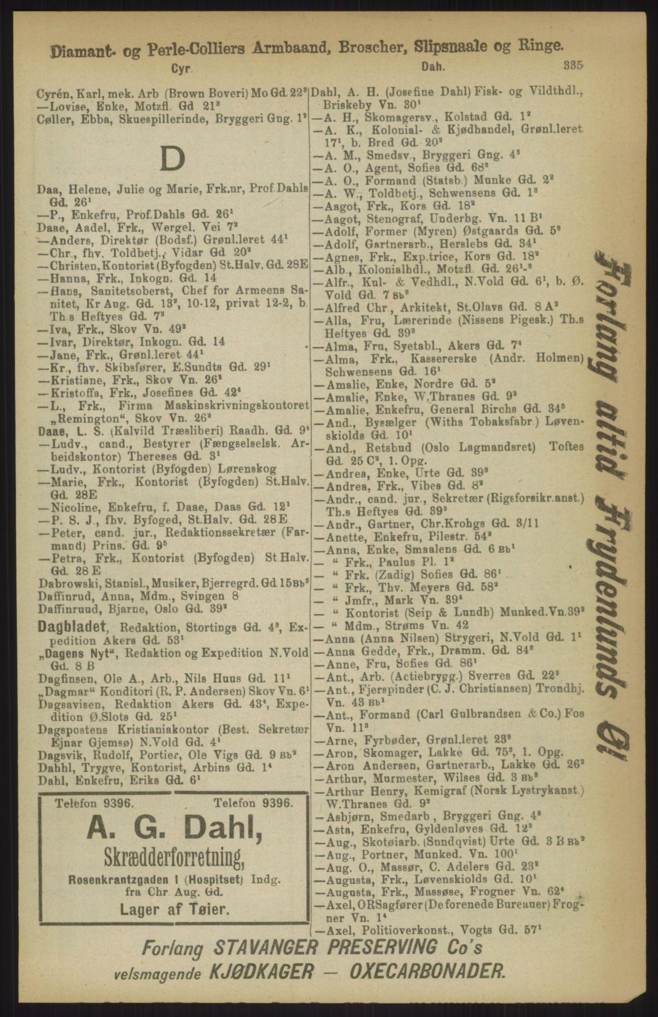 RA, Kristiania adressebok (publikasjon)*, 1911, s. 335