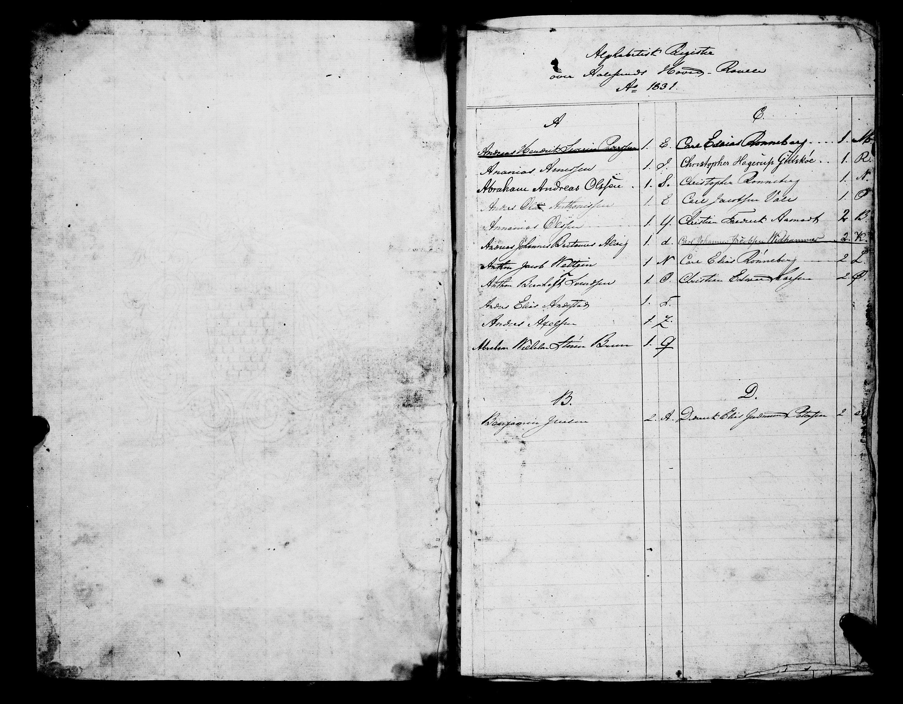 SAT, Sjøinnrulleringen - Trondhjemske distrikt, 01/L0307: Hovedrulle, ungdomsrulle og ekstrarulle for Ålesund by, 1831-1846