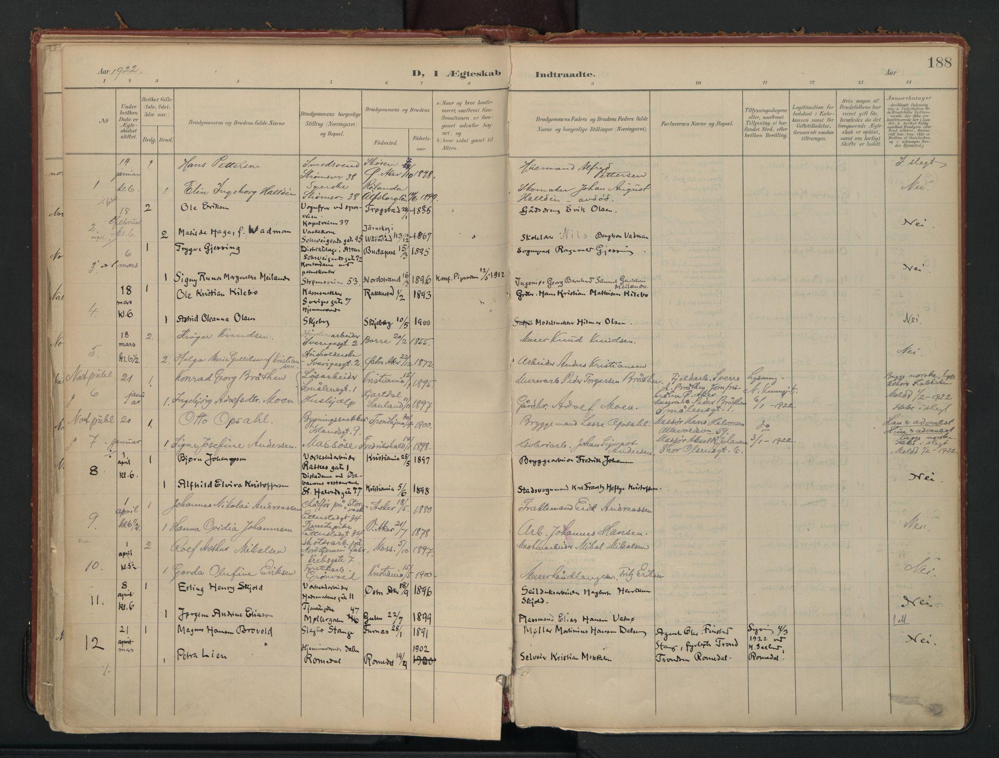 SAO, Vålerengen prestekontor Kirkebøker, F/Fa/L0002: Ministerialbok nr. 2, 1899-1924, s. 188