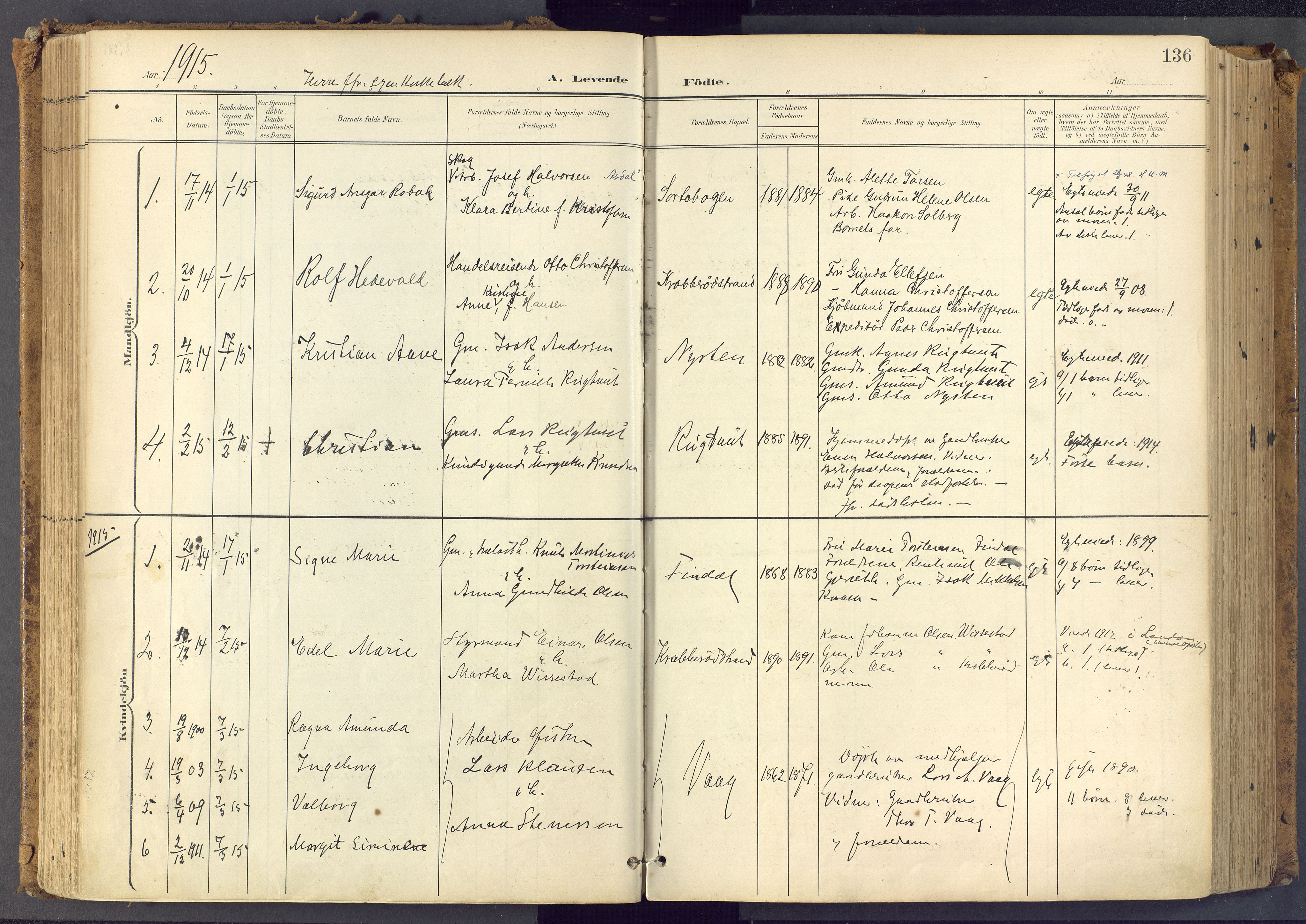 SAKO, Bamble kirkebøker, F/Fa/L0009: Ministerialbok nr. I 9, 1901-1917, s. 136