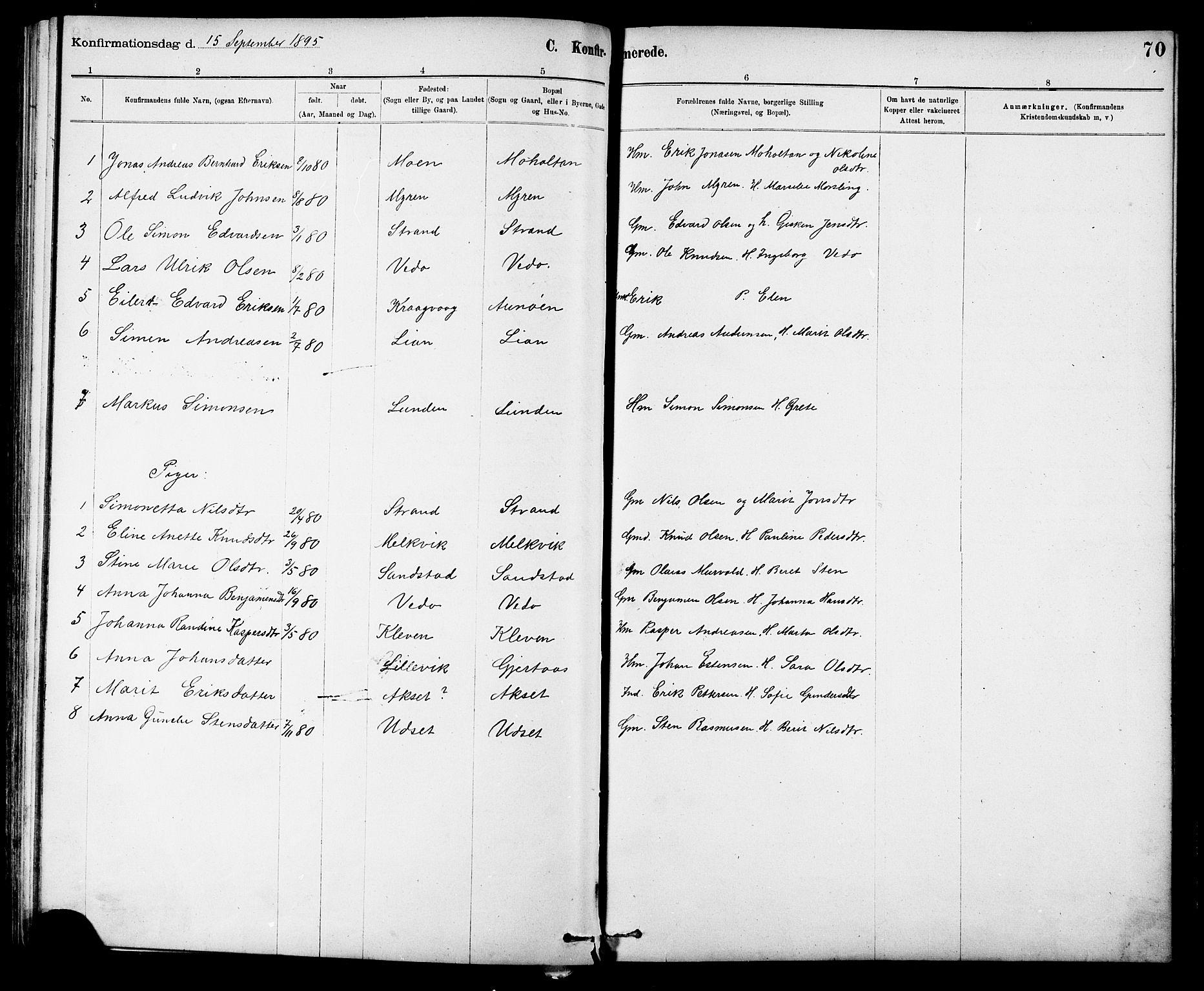 SAT, Ministerialprotokoller, klokkerbøker og fødselsregistre - Sør-Trøndelag, 639/L0573: Klokkerbok nr. 639C01, 1890-1905, s. 70