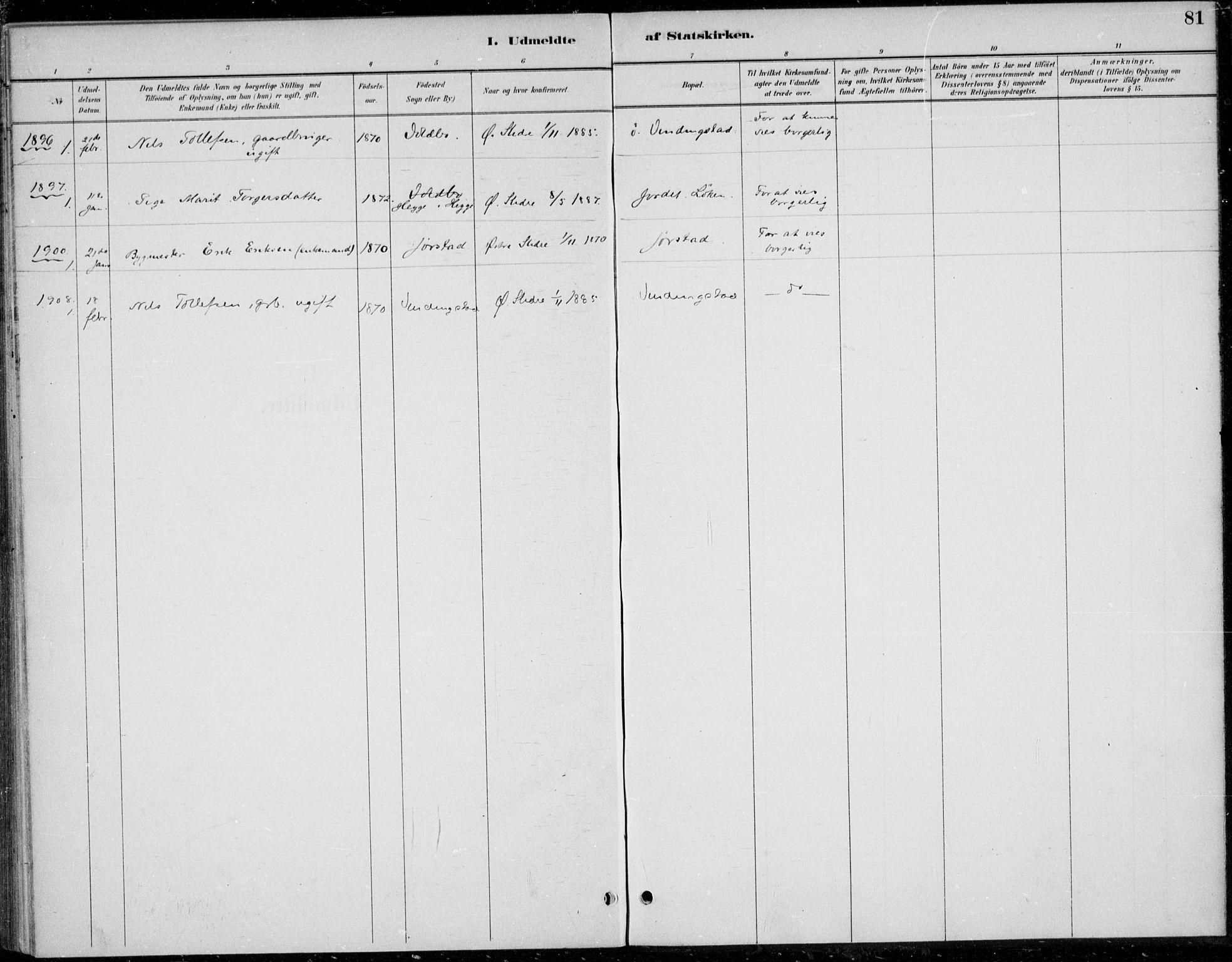 SAH, Øystre Slidre prestekontor, Ministerialbok nr. 5, 1887-1916, s. 81