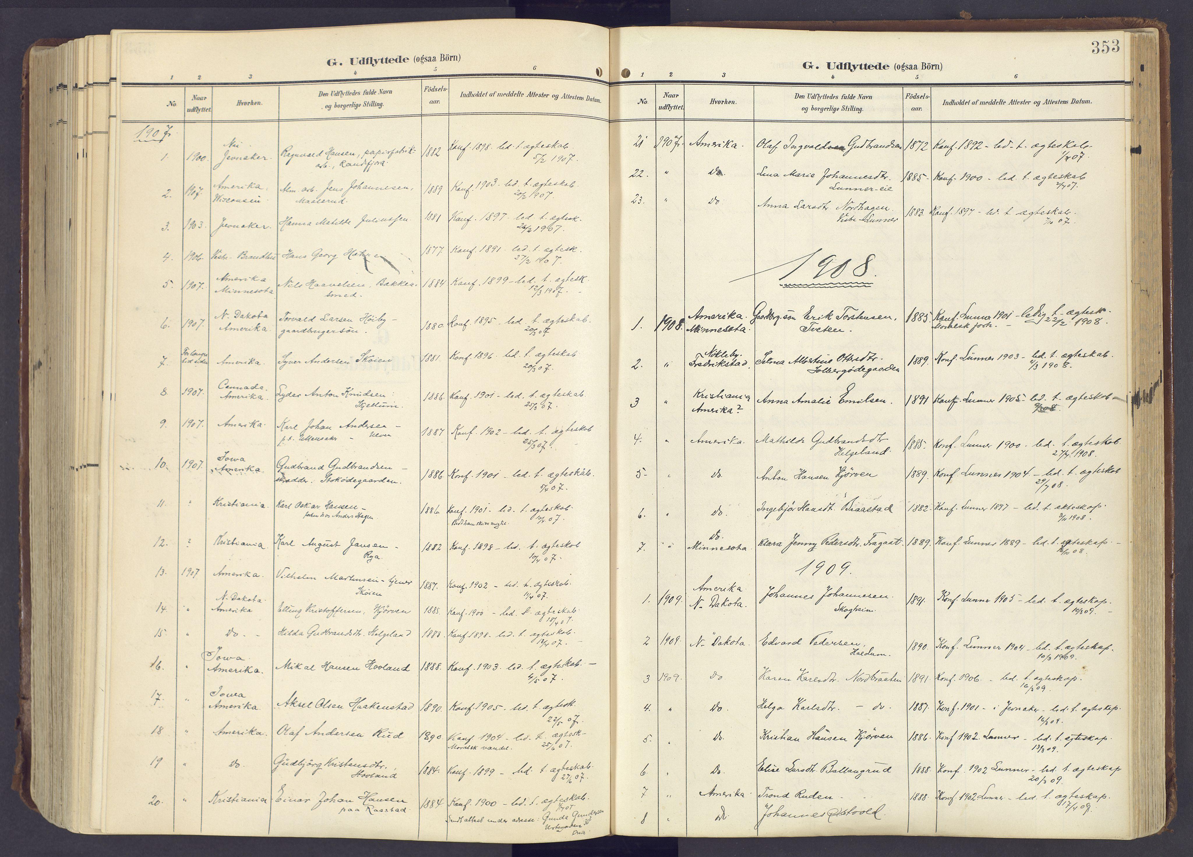 SAH, Lunner prestekontor, H/Ha/Haa/L0001: Ministerialbok nr. 1, 1907-1922, s. 353