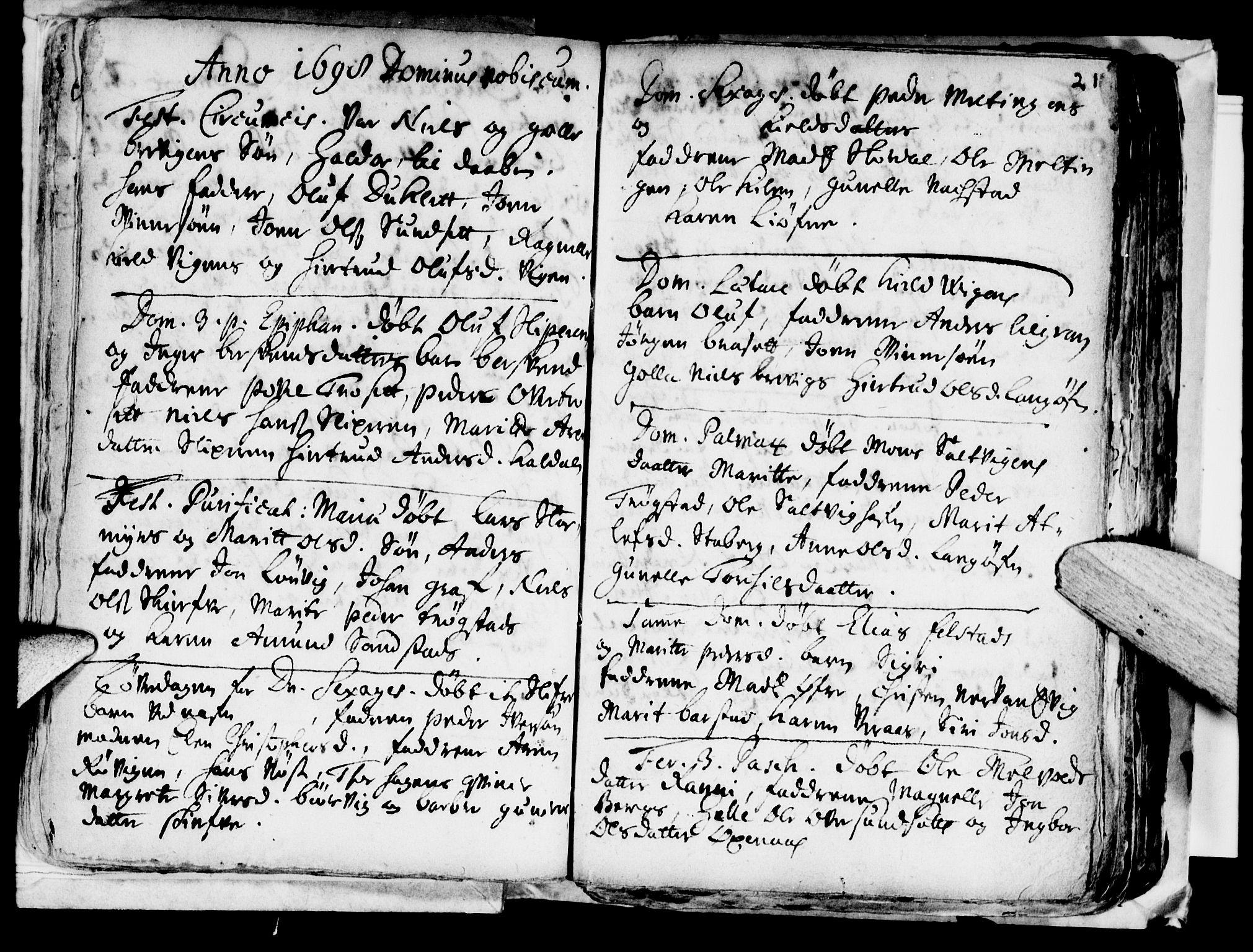 SAT, Ministerialprotokoller, klokkerbøker og fødselsregistre - Nord-Trøndelag, 722/L0214: Ministerialbok nr. 722A01, 1692-1718, s. 21