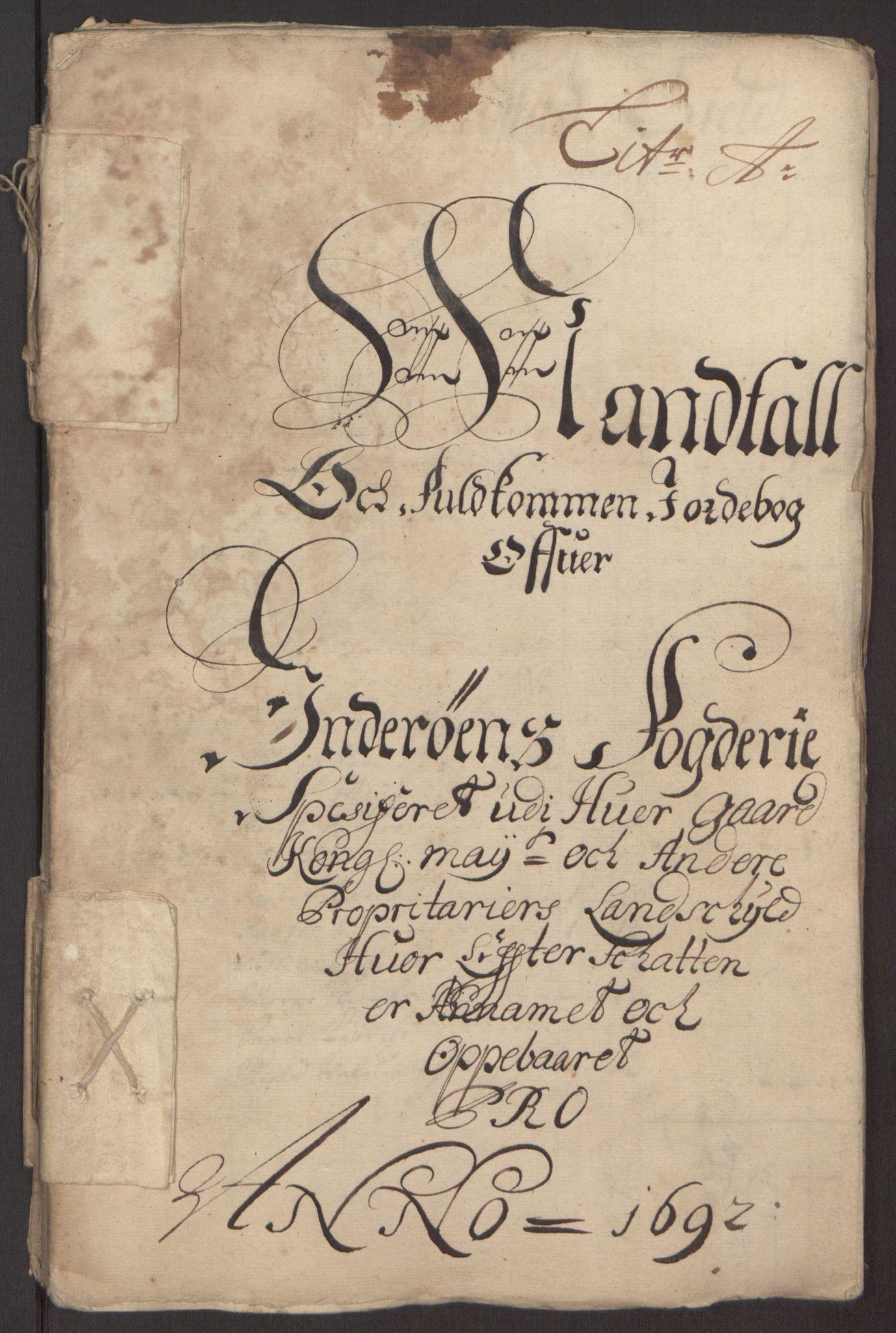 RA, Rentekammeret inntil 1814, Reviderte regnskaper, Fogderegnskap, R63/L4308: Fogderegnskap Inderøy, 1692-1694, s. 12