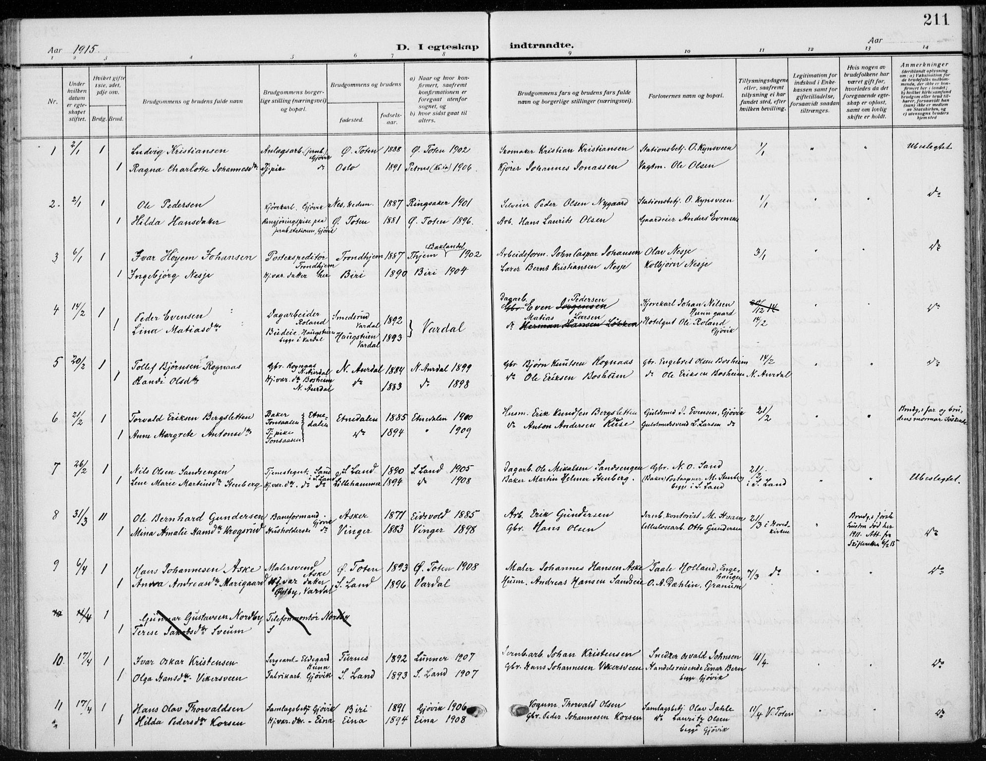 SAH, Vardal prestekontor, H/Ha/Haa/L0014: Ministerialbok nr. 14, 1912-1922, s. 211