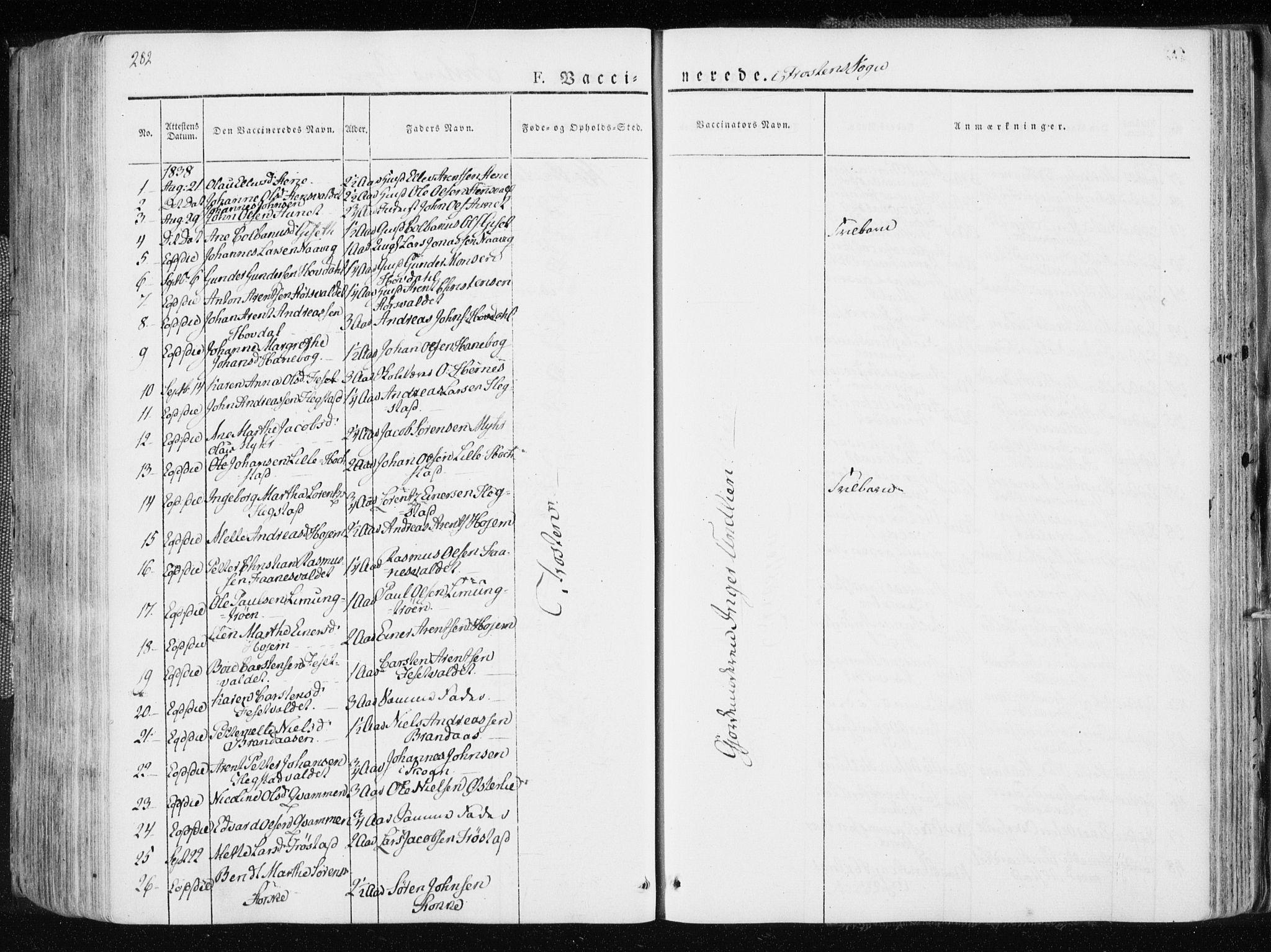SAT, Ministerialprotokoller, klokkerbøker og fødselsregistre - Nord-Trøndelag, 713/L0114: Ministerialbok nr. 713A05, 1827-1839, s. 282