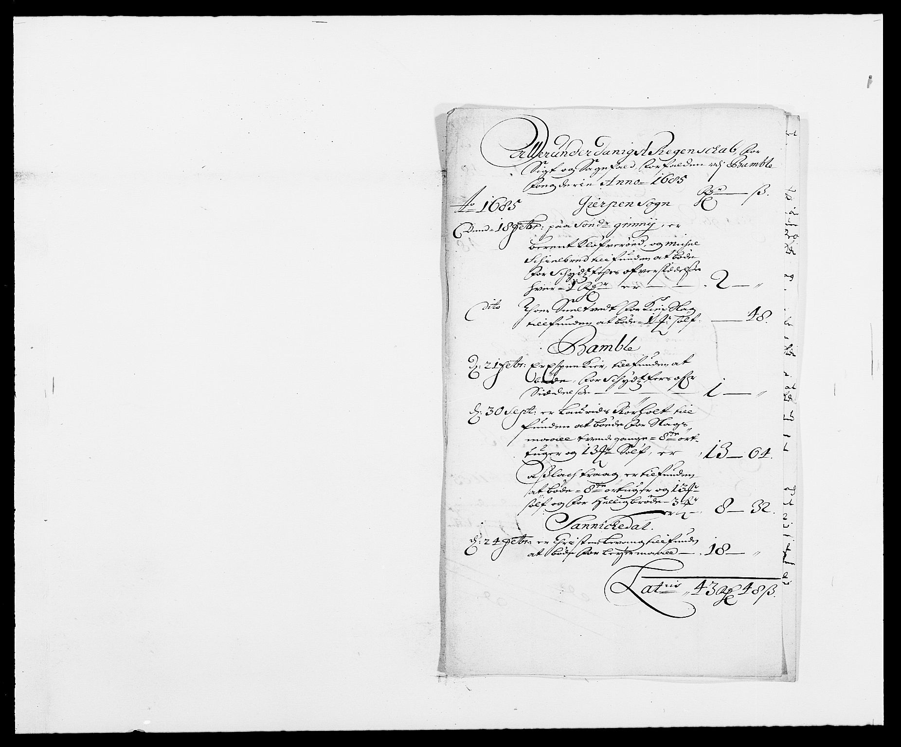 RA, Rentekammeret inntil 1814, Reviderte regnskaper, Fogderegnskap, R34/L2048: Fogderegnskap Bamble, 1685-1687, s. 58