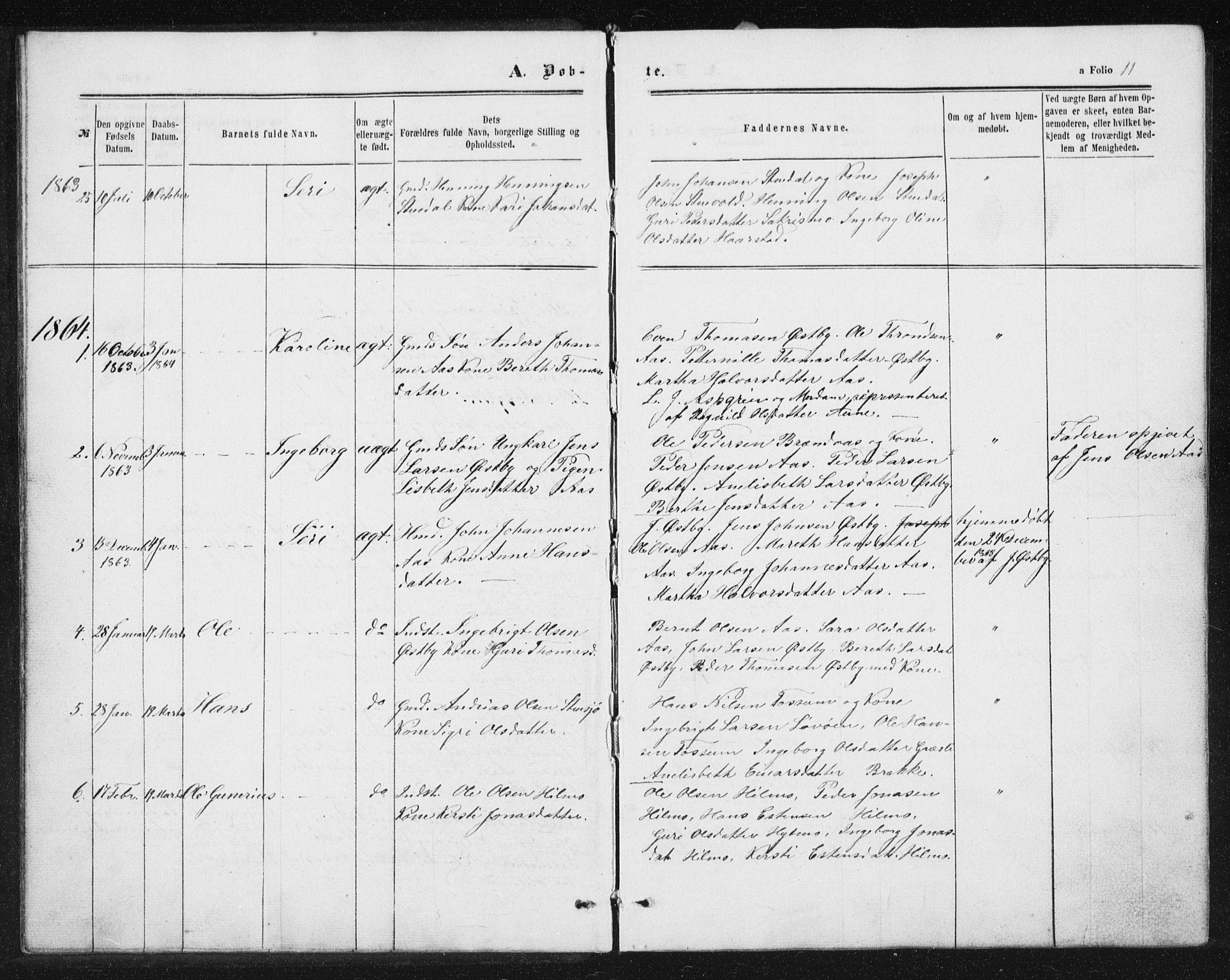 SAT, Ministerialprotokoller, klokkerbøker og fødselsregistre - Sør-Trøndelag, 698/L1166: Klokkerbok nr. 698C03, 1861-1887, s. 11