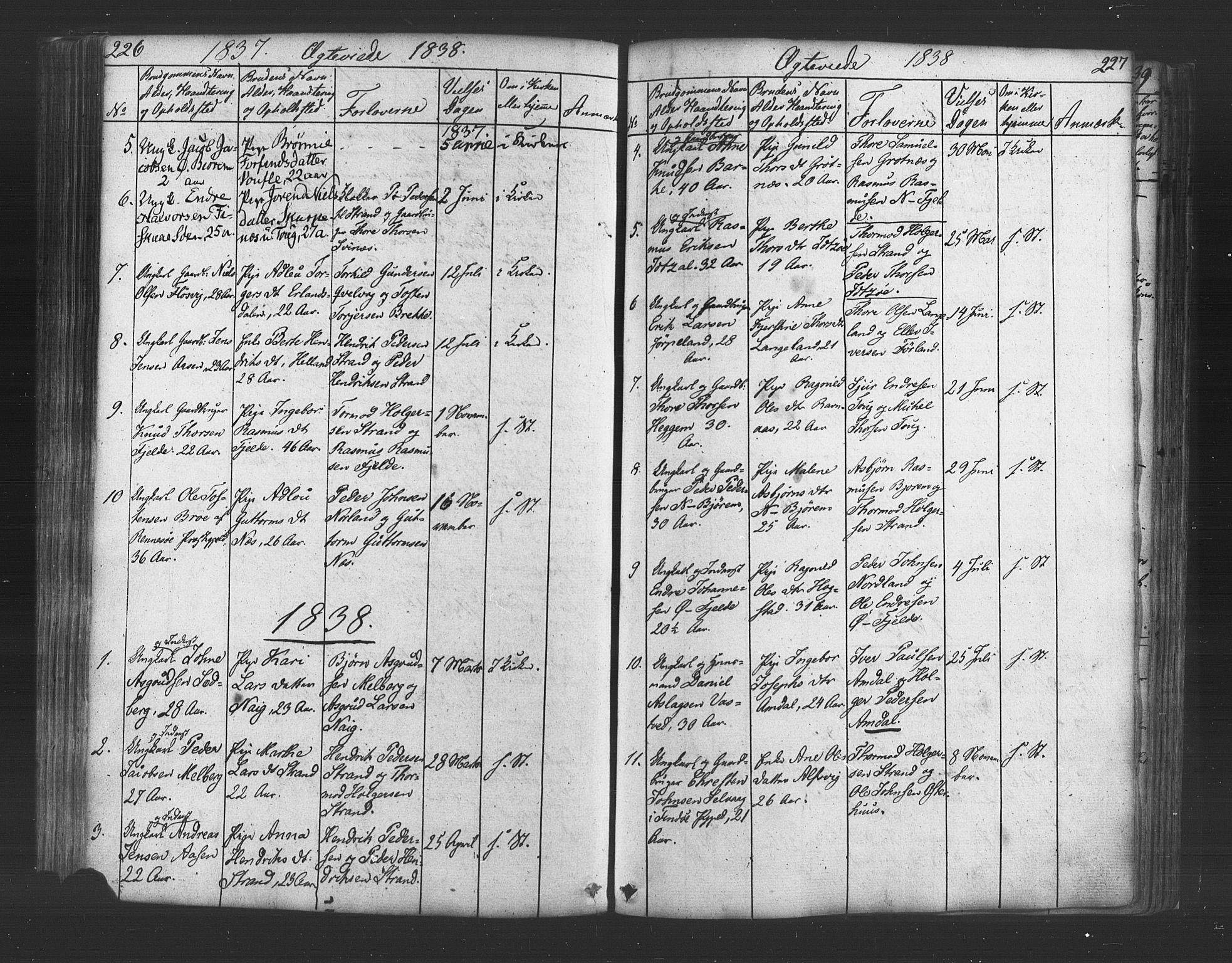 SAST, Strand sokneprestkontor, H/Ha/Haa/L0006: Ministerialbok nr. A 6, 1834-1854, s. 226-227