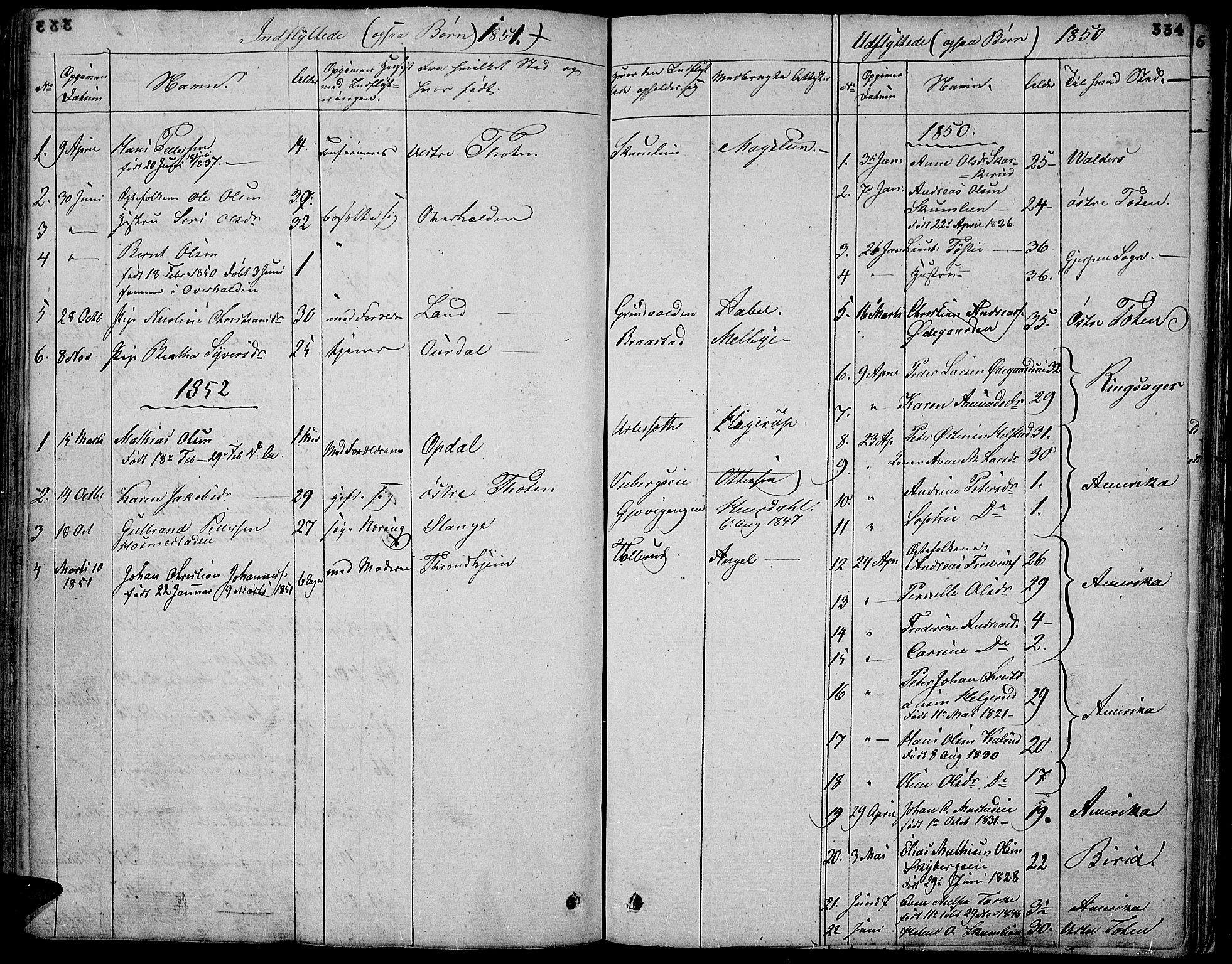 SAH, Vardal prestekontor, H/Ha/Hab/L0004: Klokkerbok nr. 4, 1831-1853, s. 334