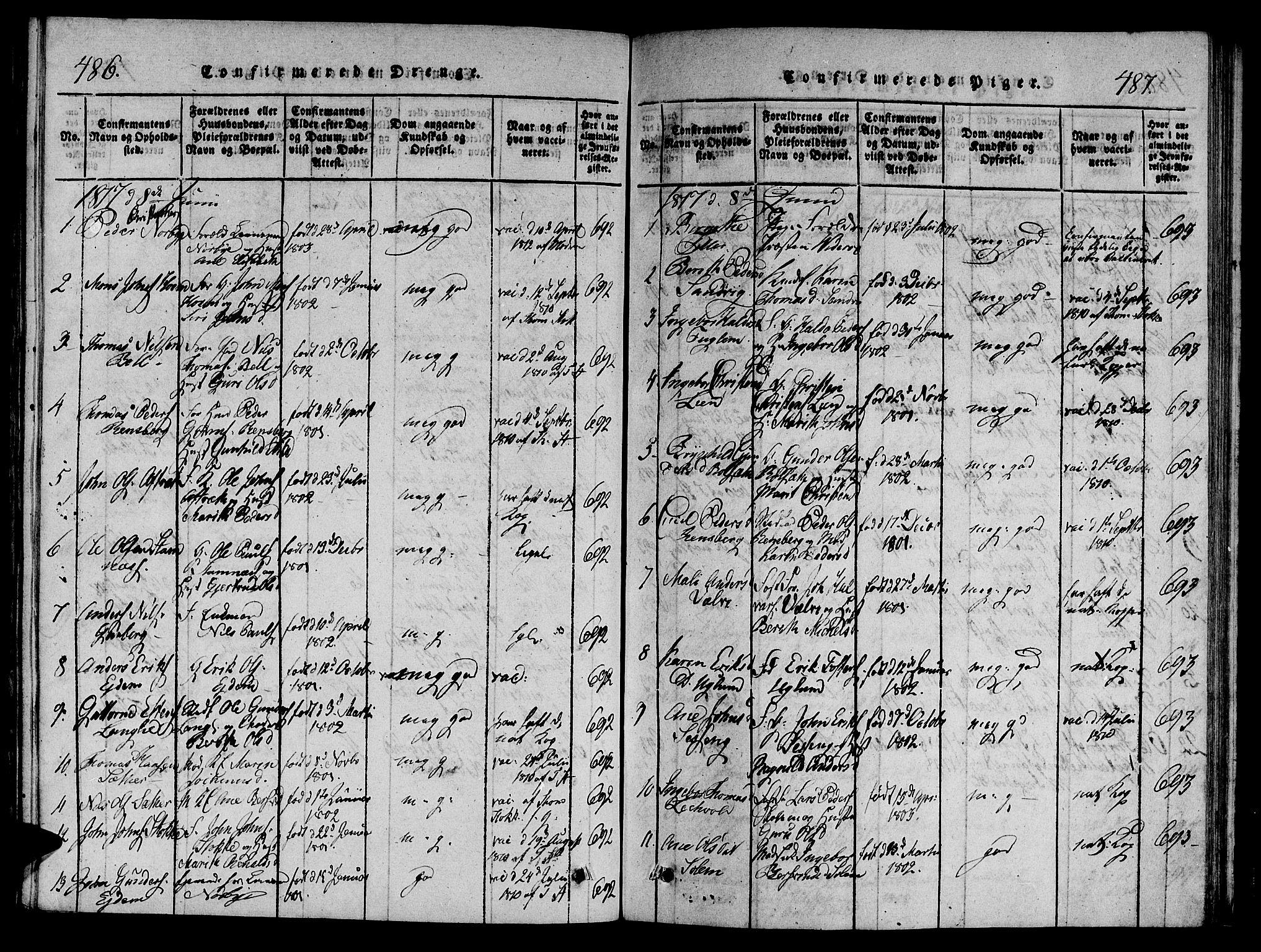 SAT, Ministerialprotokoller, klokkerbøker og fødselsregistre - Sør-Trøndelag, 695/L1141: Ministerialbok nr. 695A04 /1, 1816-1824, s. 486-487