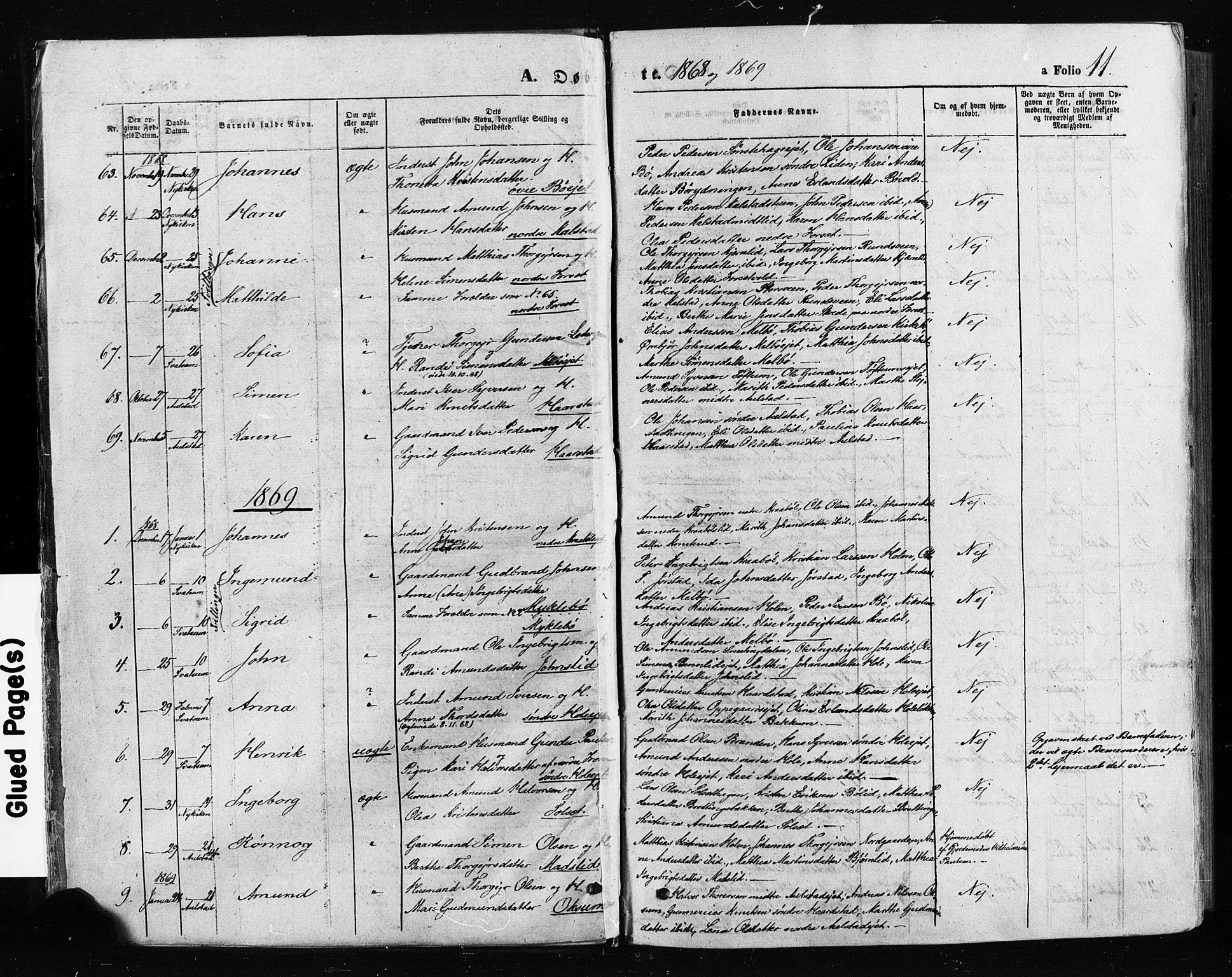 SAH, Gausdal prestekontor, Ministerialbok nr. 10, 1867-1886, s. 11